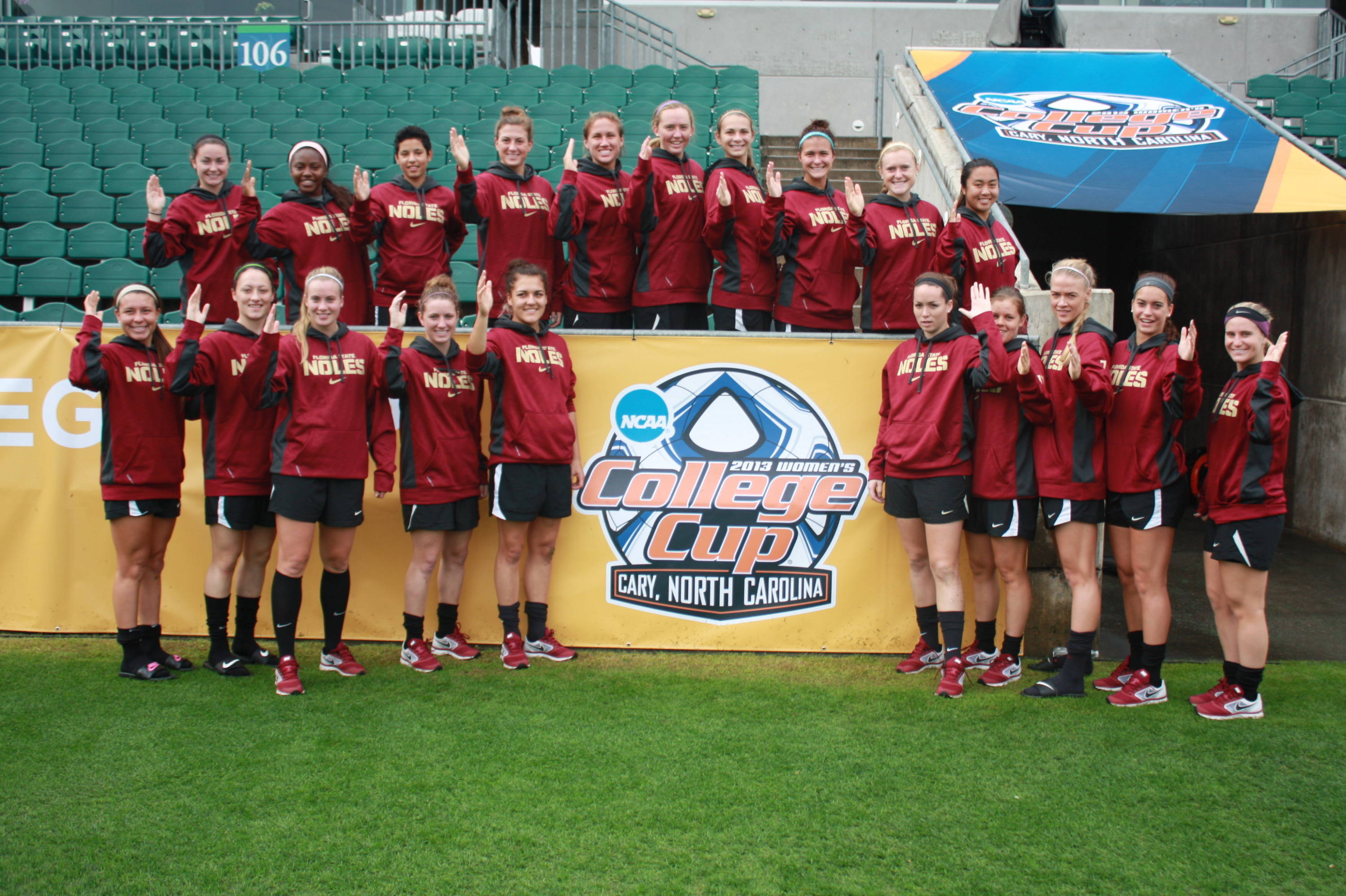 The Seminoles doing the chop inside WakeMed Park at the 2013 College Cup