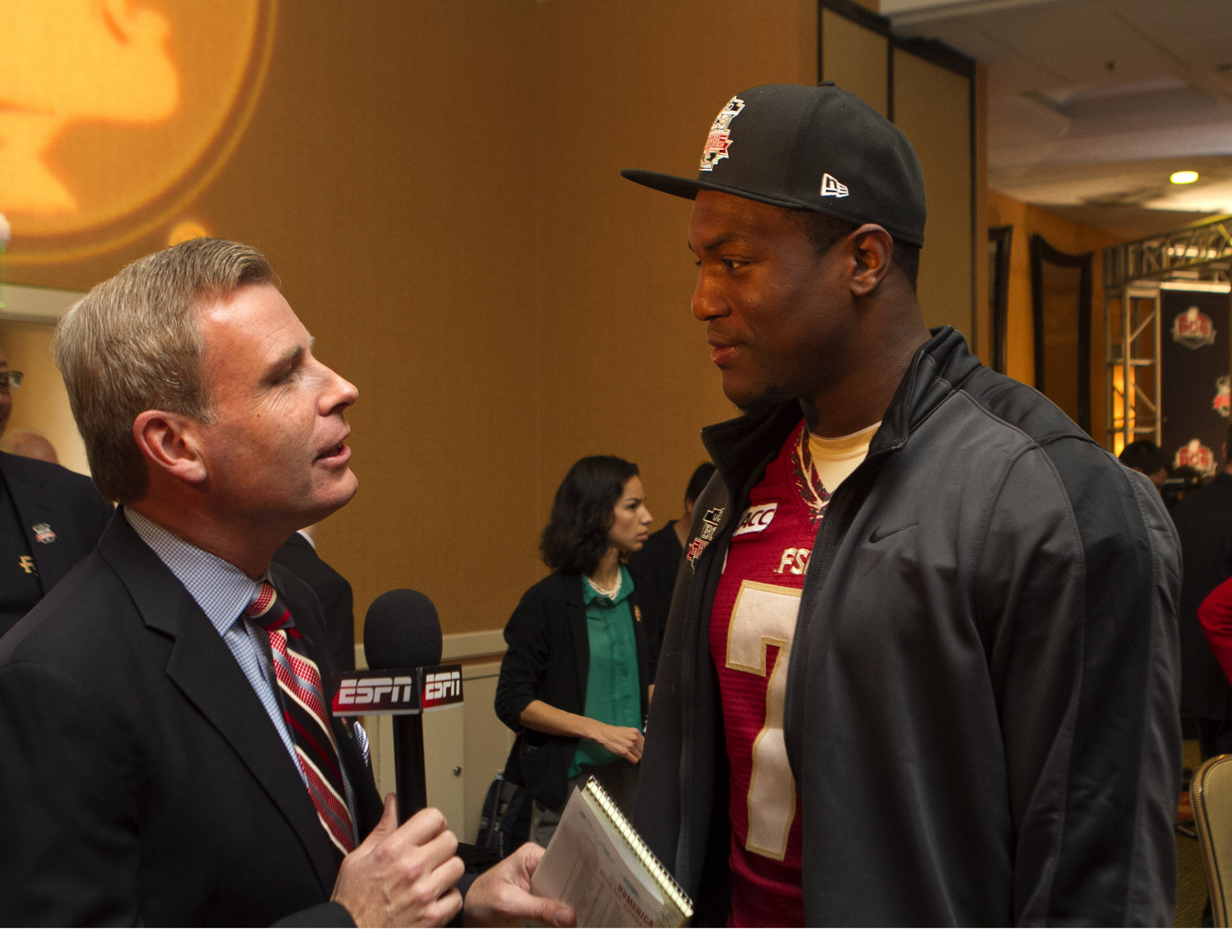 Christian Jones (7), FSU at BCS Championship Media Day,  1-04-14,  (Photo by Steve Musco)