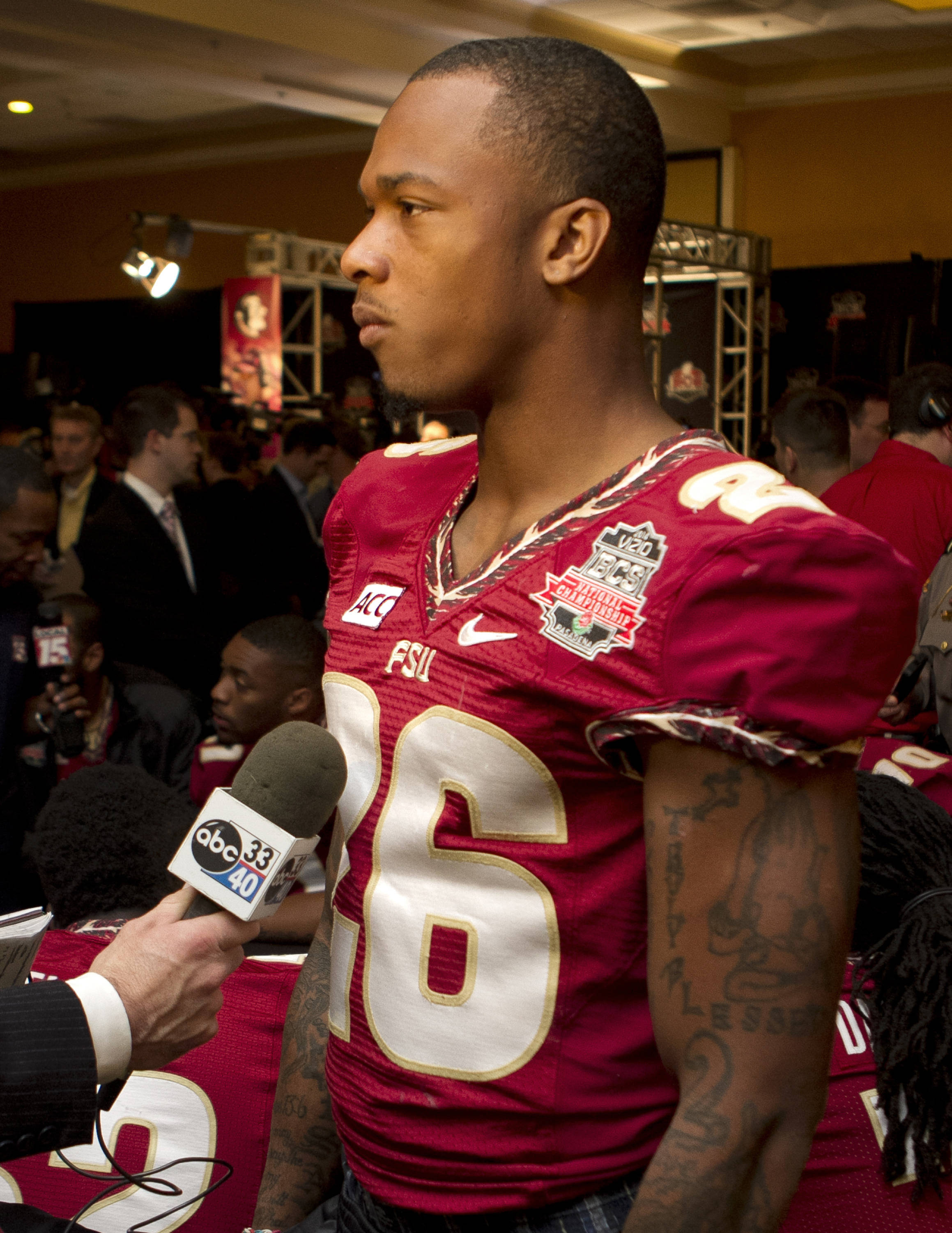P.J. Williams (26), FSU at BCS Championship Media Day,  1-04-14,  (Photo by Steve Musco)