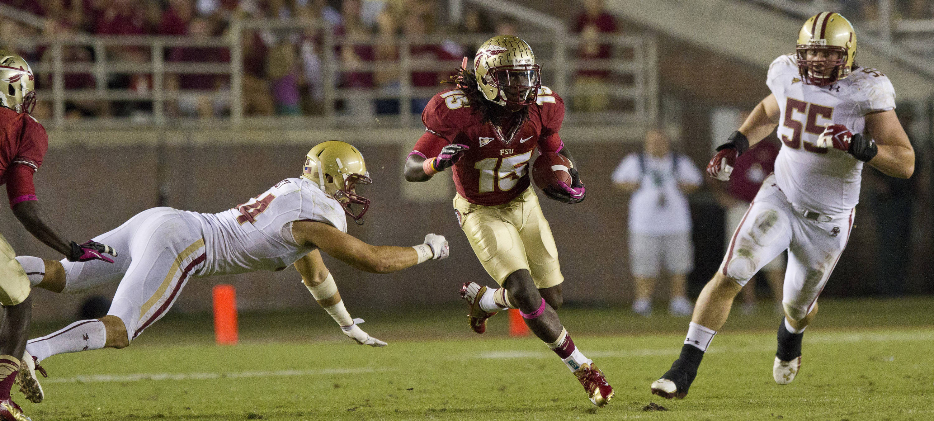 Greg Dent (15) carries the ball during the FSU vs Boston College football game on October 13, 2012 in Tallahassee, Fla.