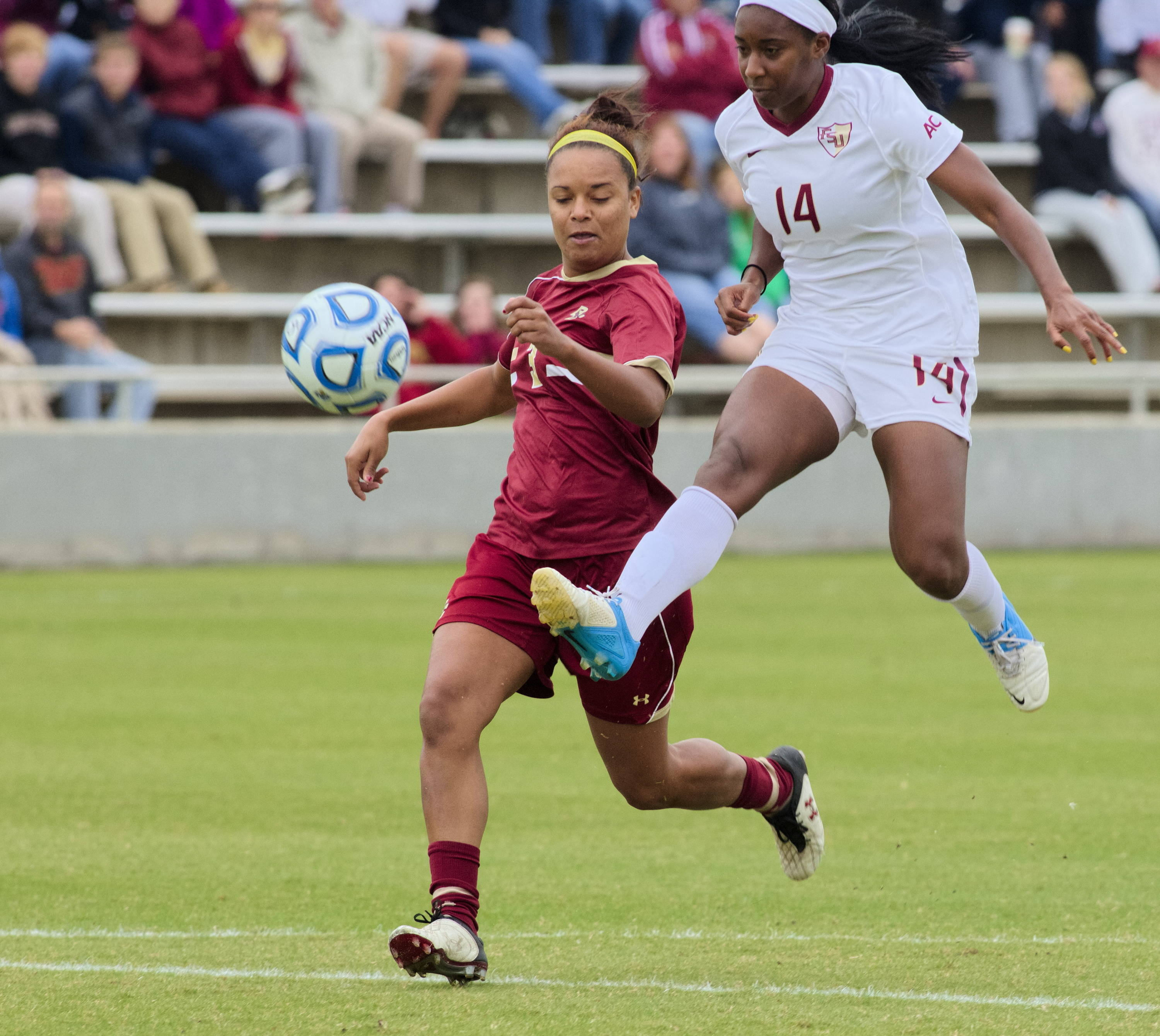 Tiffany McCarty (14) scoring, FSU vs BC, ACC Tournament, 10/28/12. (Photo by Steve Musco)