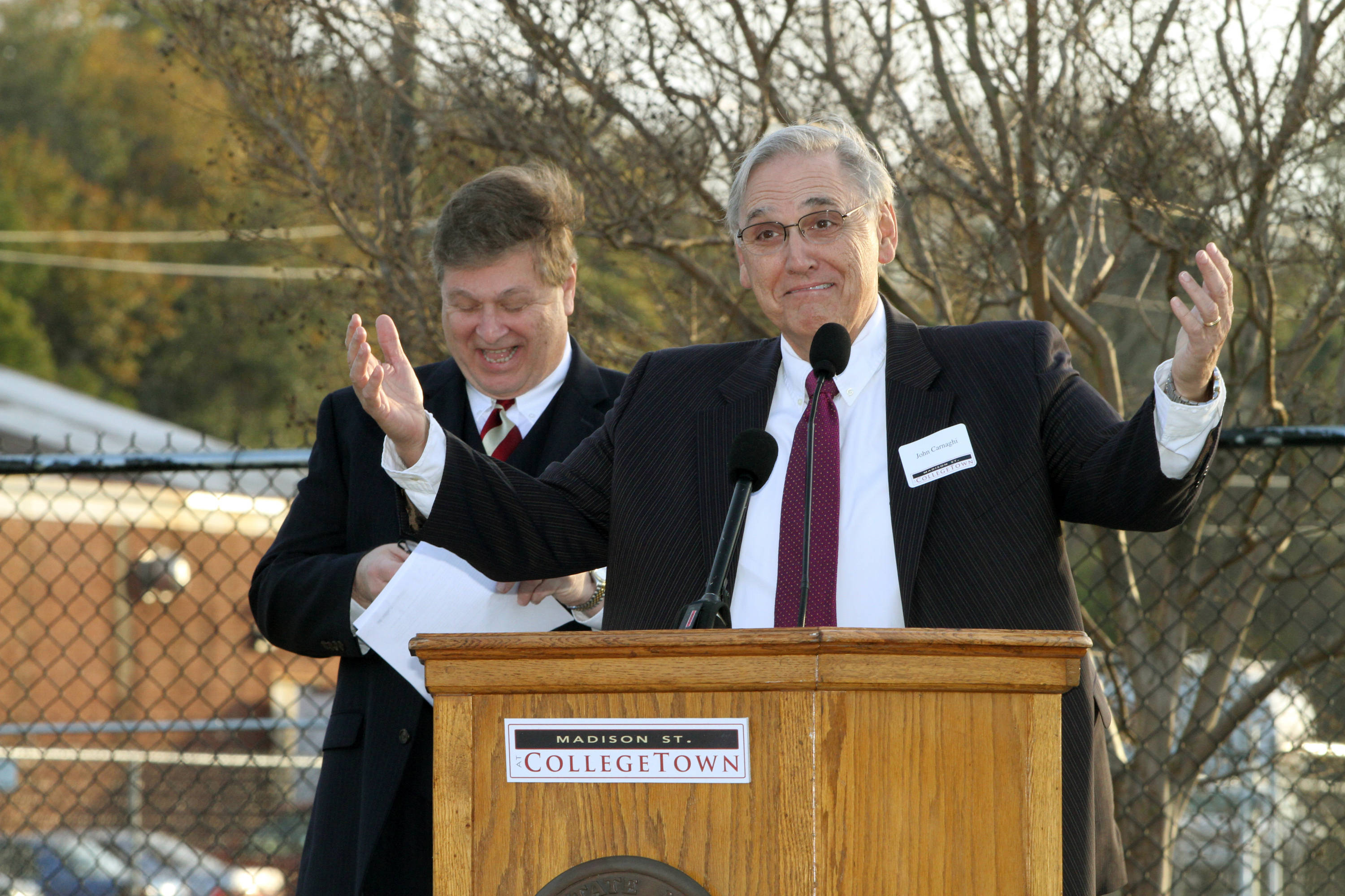 CollegeTown Groundbreaking: Press Conference with remarks held on the old intramural fields which is right across Woodward Avenue from CollegeTown. Groundbreaking was held on site.#$%^#$%^John Carnaghi, VP of Finance & Administration is at the podium.