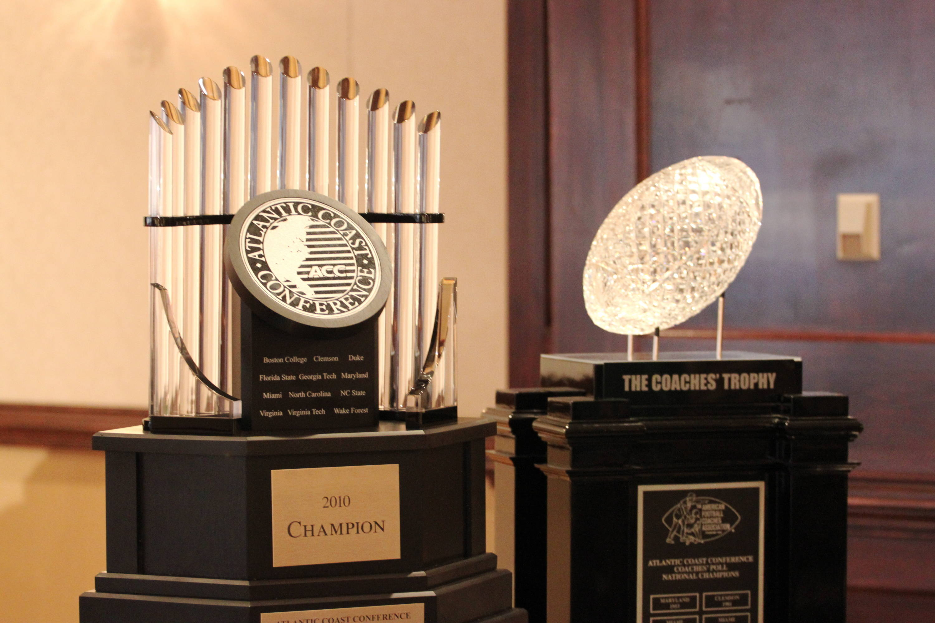 The ACC and BCS National Championship trophies.