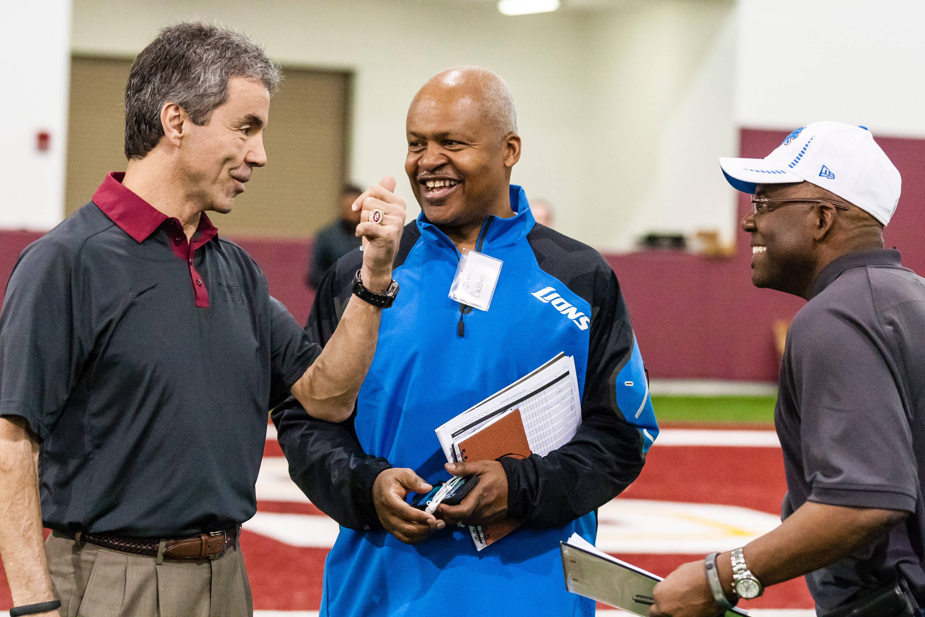 FSU Senior Associate Athletics Director Monk Bonasorte and Detroit Lions coach Jim Caldwell