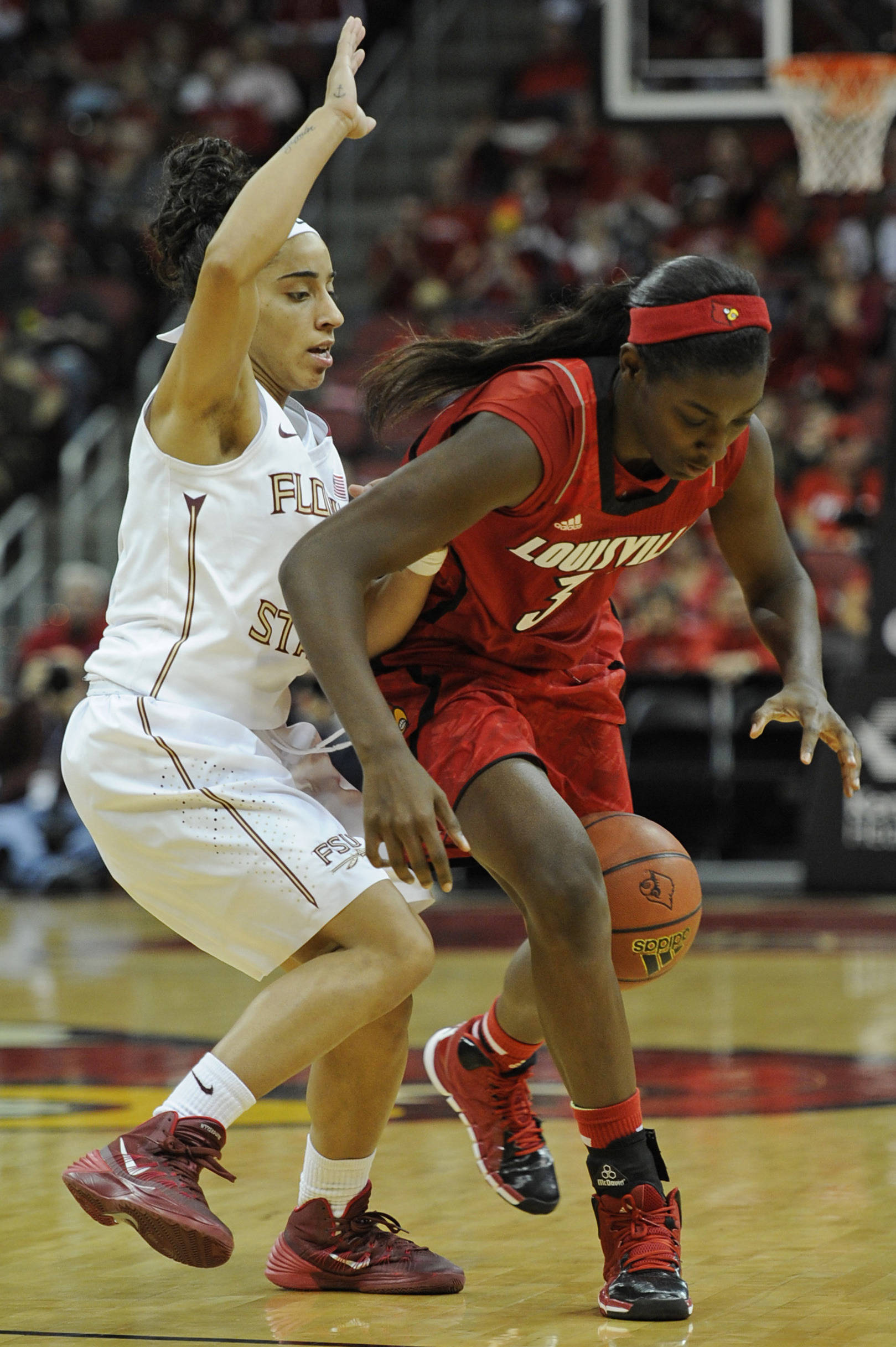 Nov 24, 2013; Louisville, KY, USA; Louisville Cardinals forward Asia Taylor (31) dribbles the ball around Florida State Seminoles guard Cheetah Delgado (5) during the first half at KFC YUM! Center. Mandatory Credit: Jamie Rhodes-USA TODAY Sports