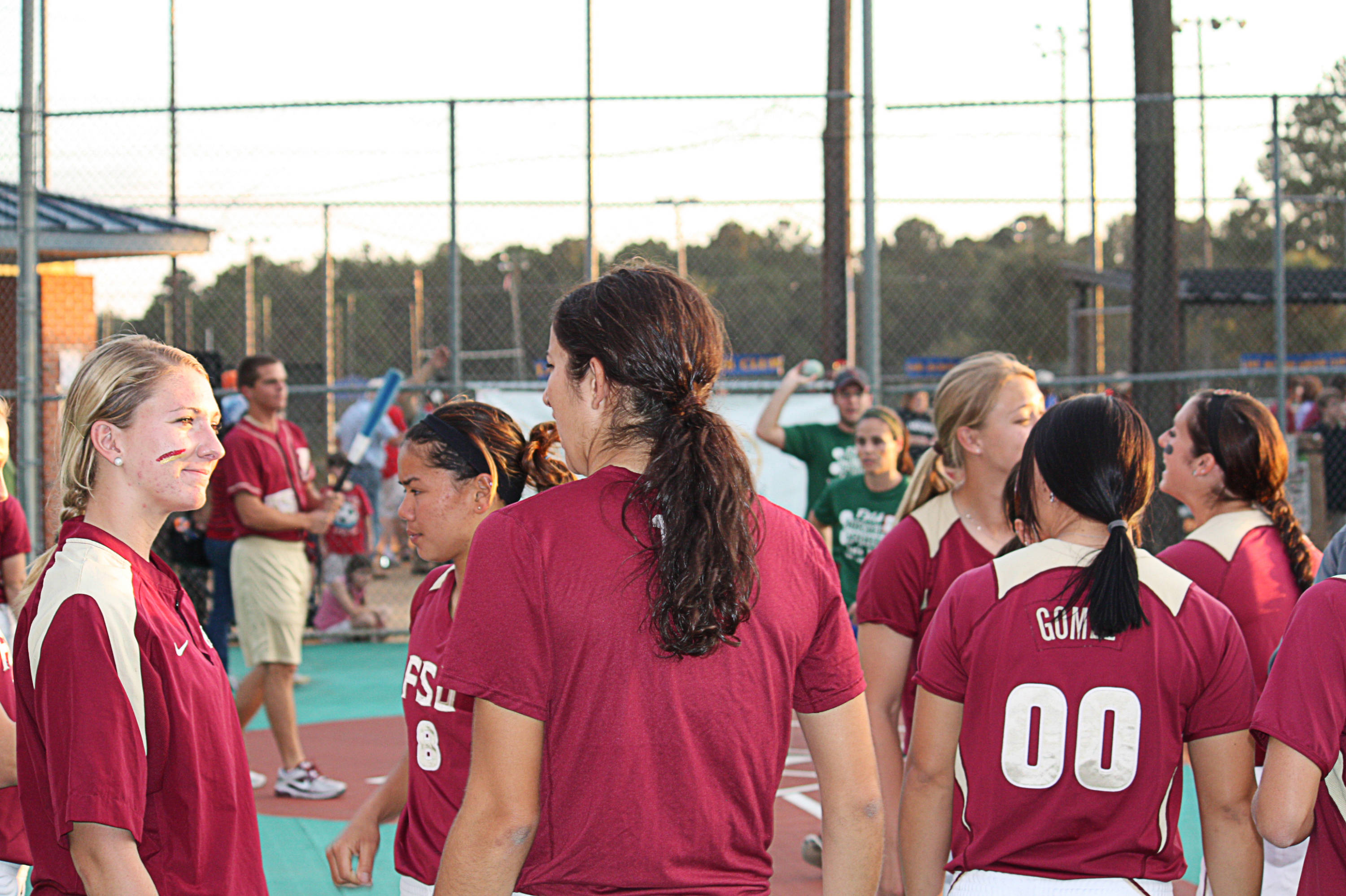 Softball players chatting