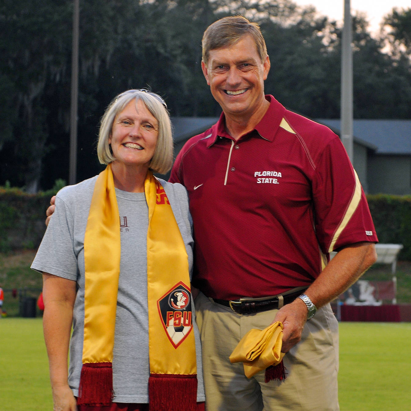 Molly Barron and FSU Director of Athletics Randy Spetman on hand to present Mrs. Barron and FSU President Dr. Eric J. Barron (unable to attend) with the inaugural Golden Scarf.