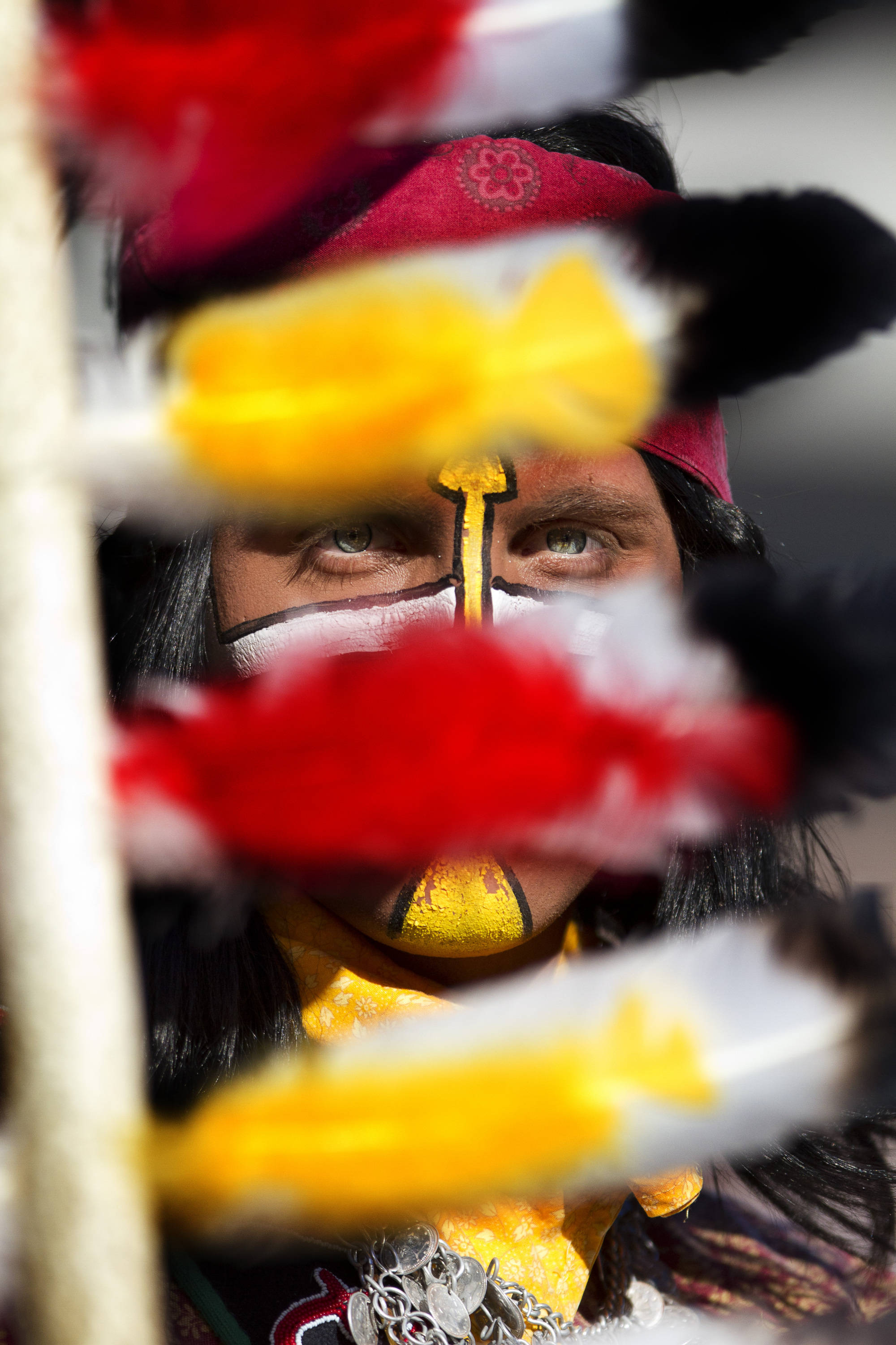 Chief Osceola on the sidelines during the football game against Maryland in Tallahassee, Florida on October 22, 2011.