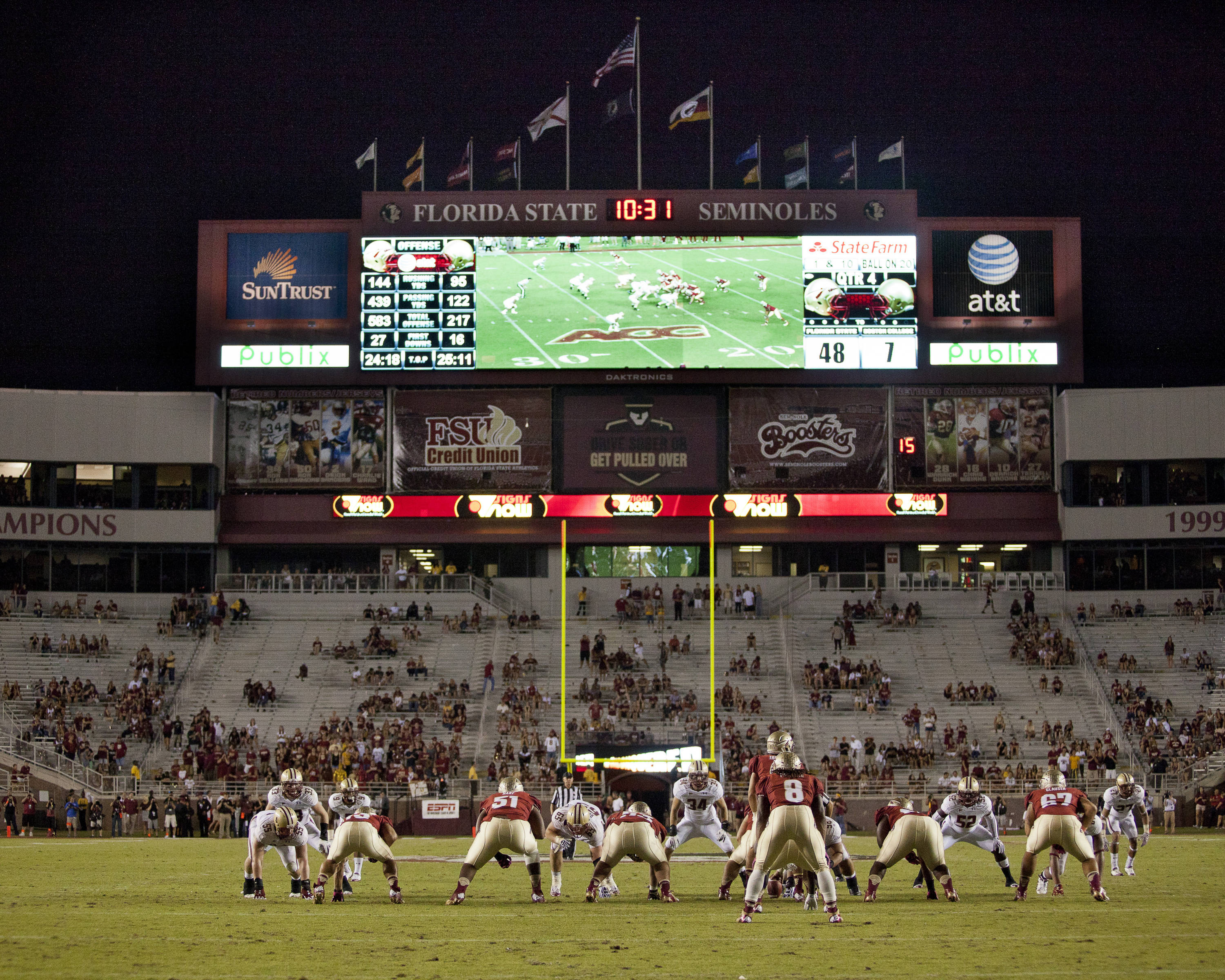 The FSU offense waits for the snap during the FSU vs Boston College football game on October 13, 2012 in Tallahassee, Fla.