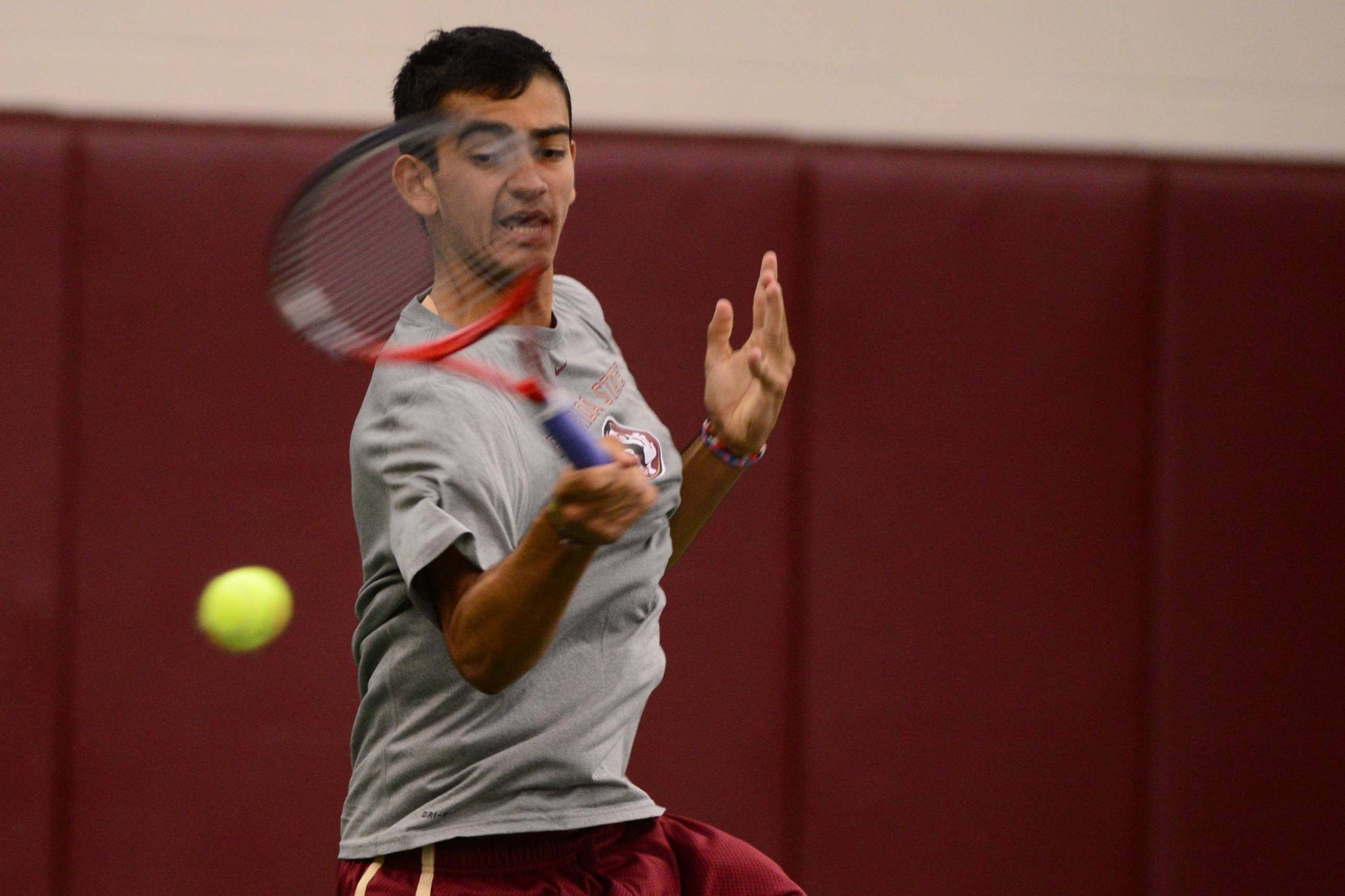 Tallahassee - FL - January 11, 2014:#$%^Florida State Men's Tennis take on North Florida at FSU Indoor Tennis Facility on January 11, 2014 in Tallahassee, FL.  ©2014 Perrone Ford.#$%^#$%^ (Photo by Perrone Ford / PTFPhoto.com)