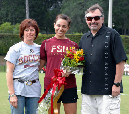 The Samokishyn Family during Senior Day ceremonies at the Seminole Soccer Complex.