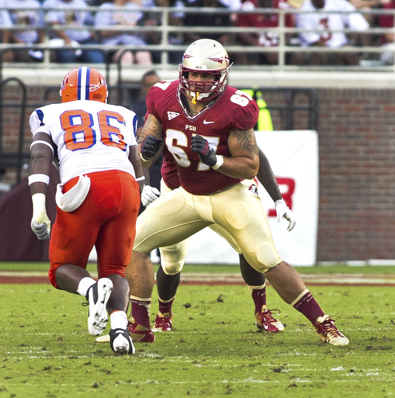 Daniel Glauser (67),  FSU vs Savannah State, 9/8/12 (Photo by Steve Musco)