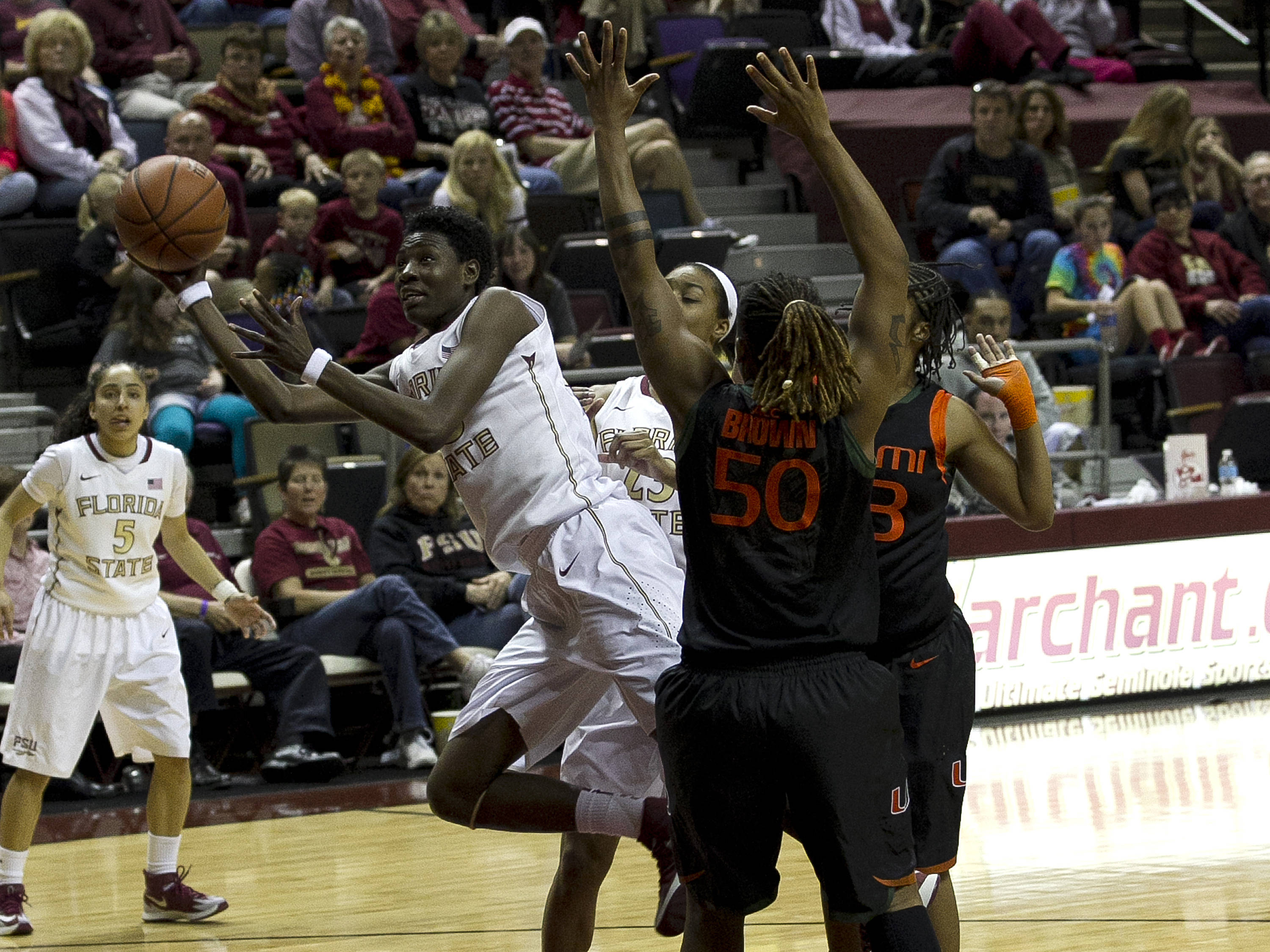Natasha Howard (33) with an off balance shot attempt, FSU vs Miami, 2-16-14, (Photo's by Steve Musco)