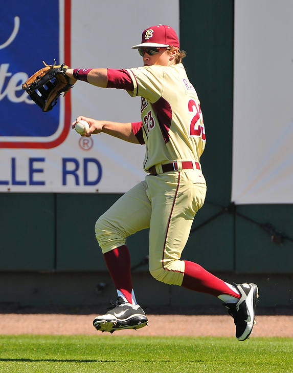 Right fielder James Ramsey winds up to cut loose a throw on Sunday vs. BC.