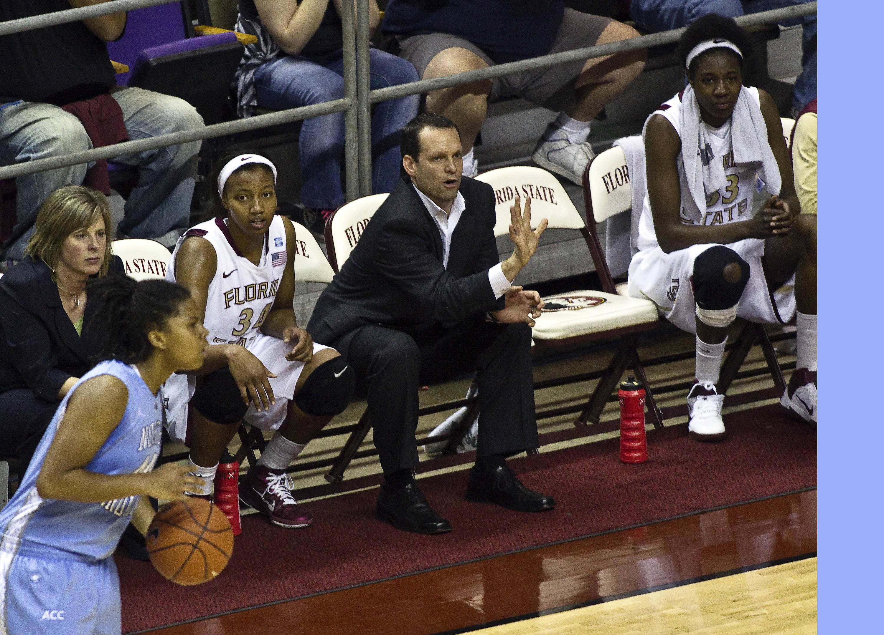 FSU vs North Carolina- 02//02/11 - Coach Cori Close, Chelsea Davis (34), Coach Lance White, Natasha Howard (33)