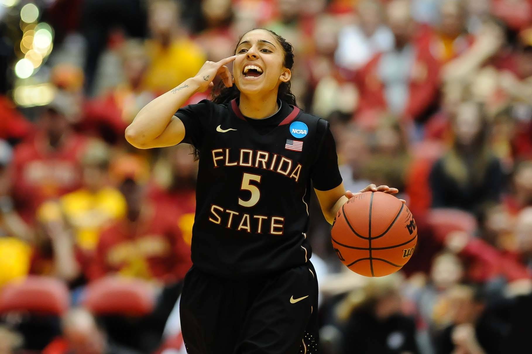 Mar 22, 2014; Ames, IA, USA; Florida State Seminoles guard Cheetah Delgado (5) calls out a play against the Iowa State Cyclones in the second half of a women's college basketball game in the first round of the NCAA Tournament at James H. Hilton Coliseum. Florida State defeated Iowa State 55-44. Mandatory Credit: Steven Branscombe-USA TODAY Sports