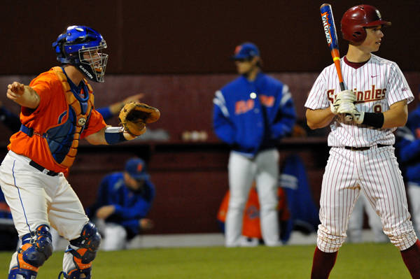 The Gators intentionally walk Buster Posey in the bottom of the eighth.