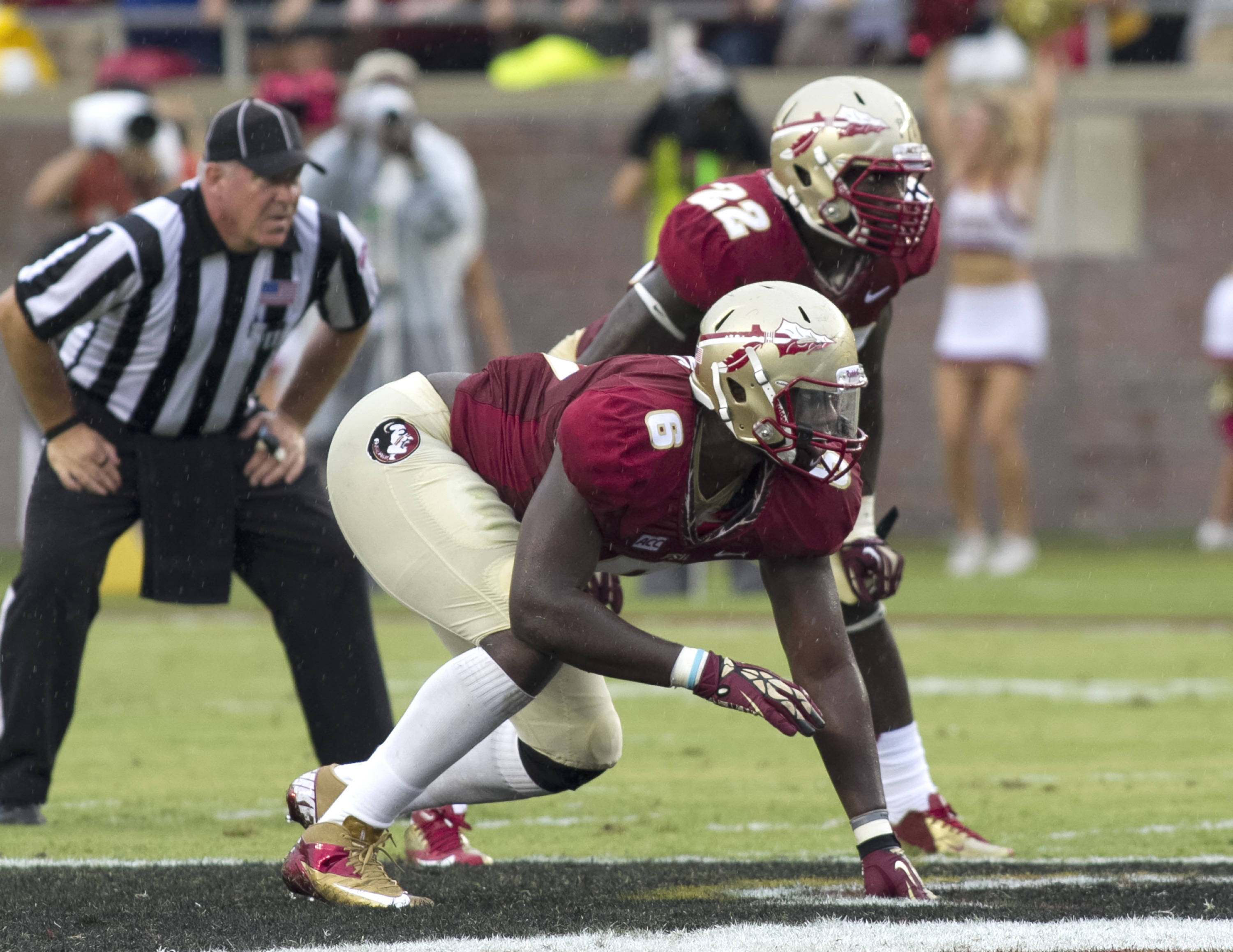 Dan Hicks (6), Telvin Smith (22), FSU vs Bethune-Cookman,  9-21-13, (Photo by Steve Musco)