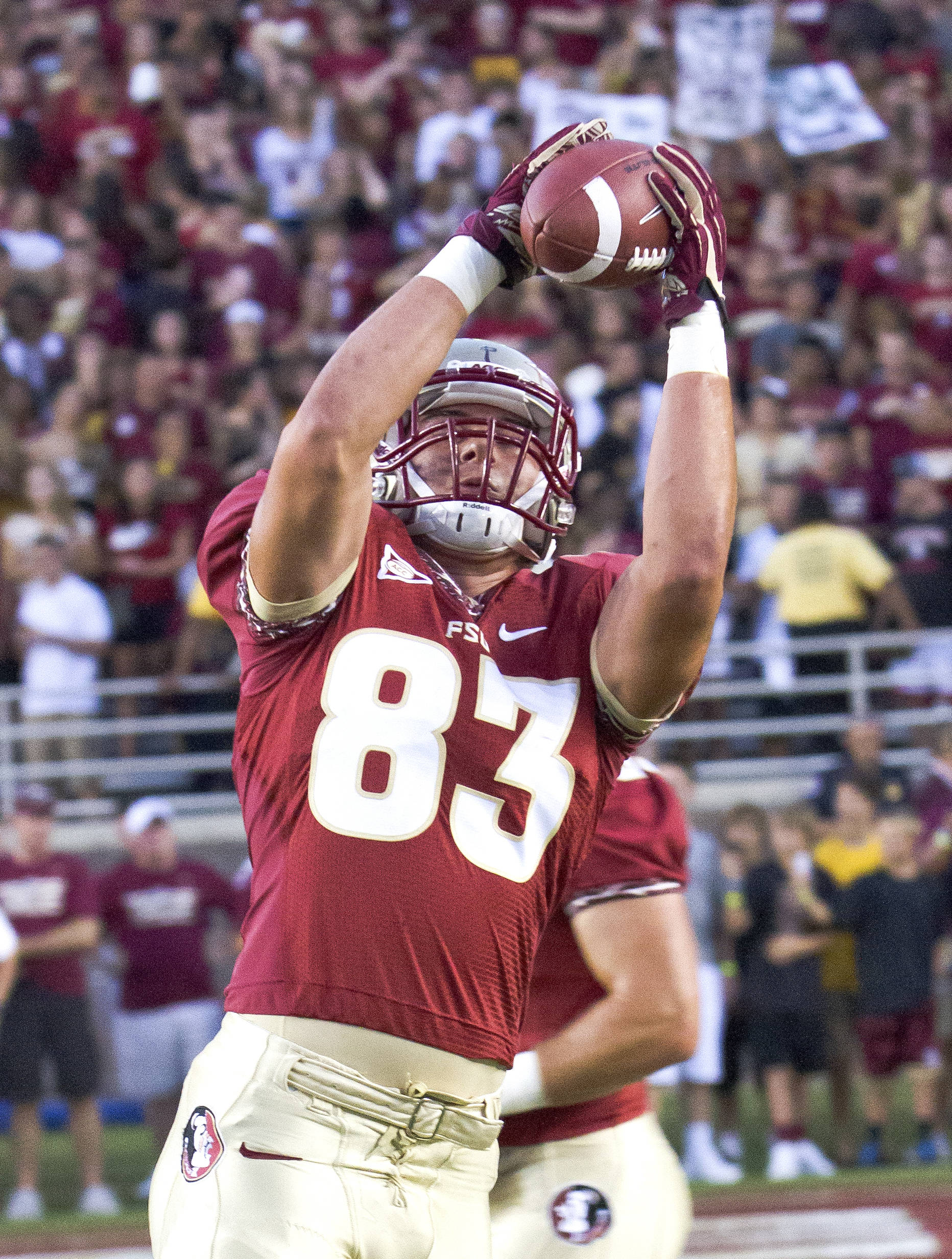 Christo Kourtzidis (83), FSU vs Clemson, 9/22/12 (Photo by Steve Musco)