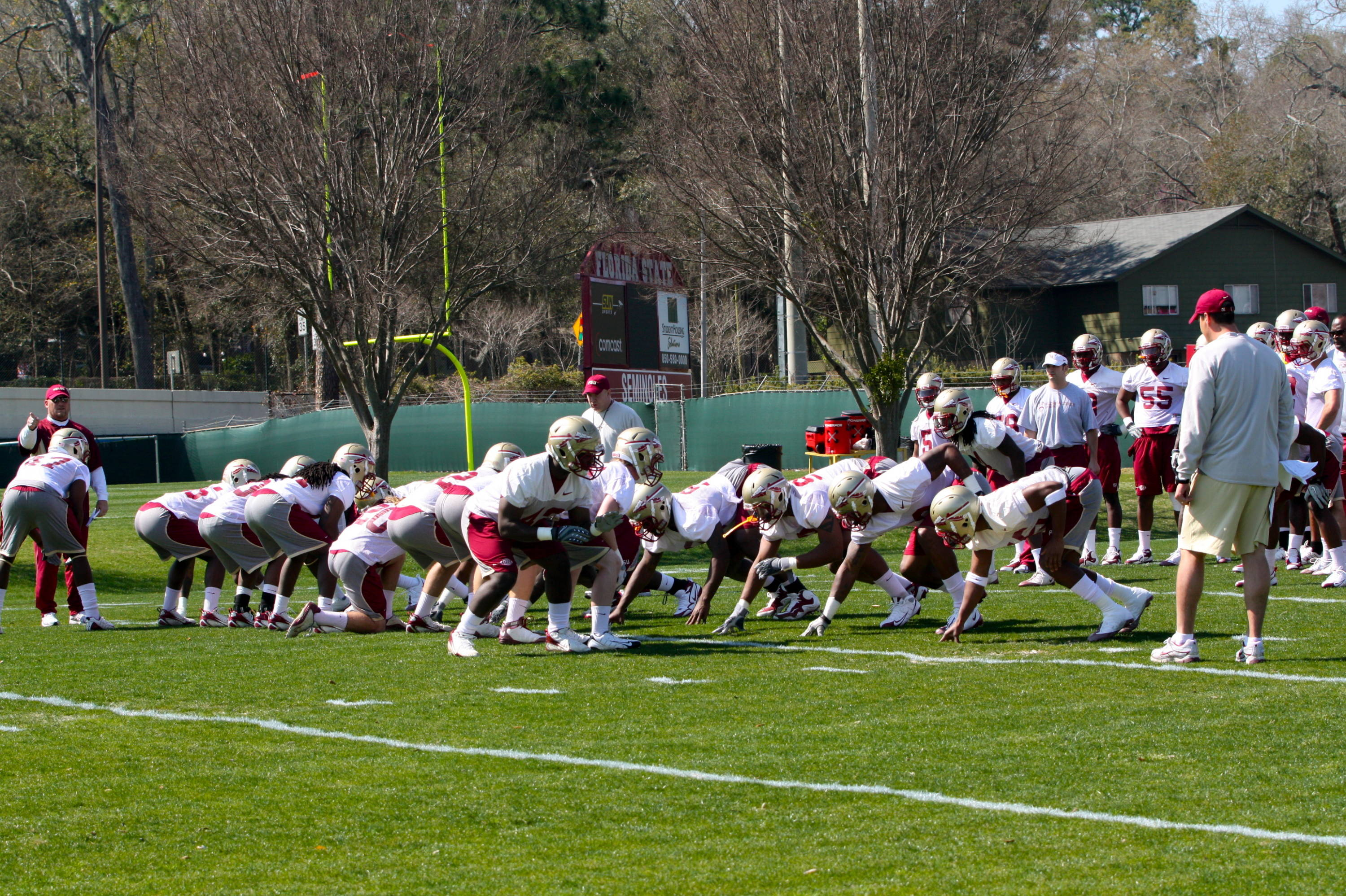 Day one spring football practice.