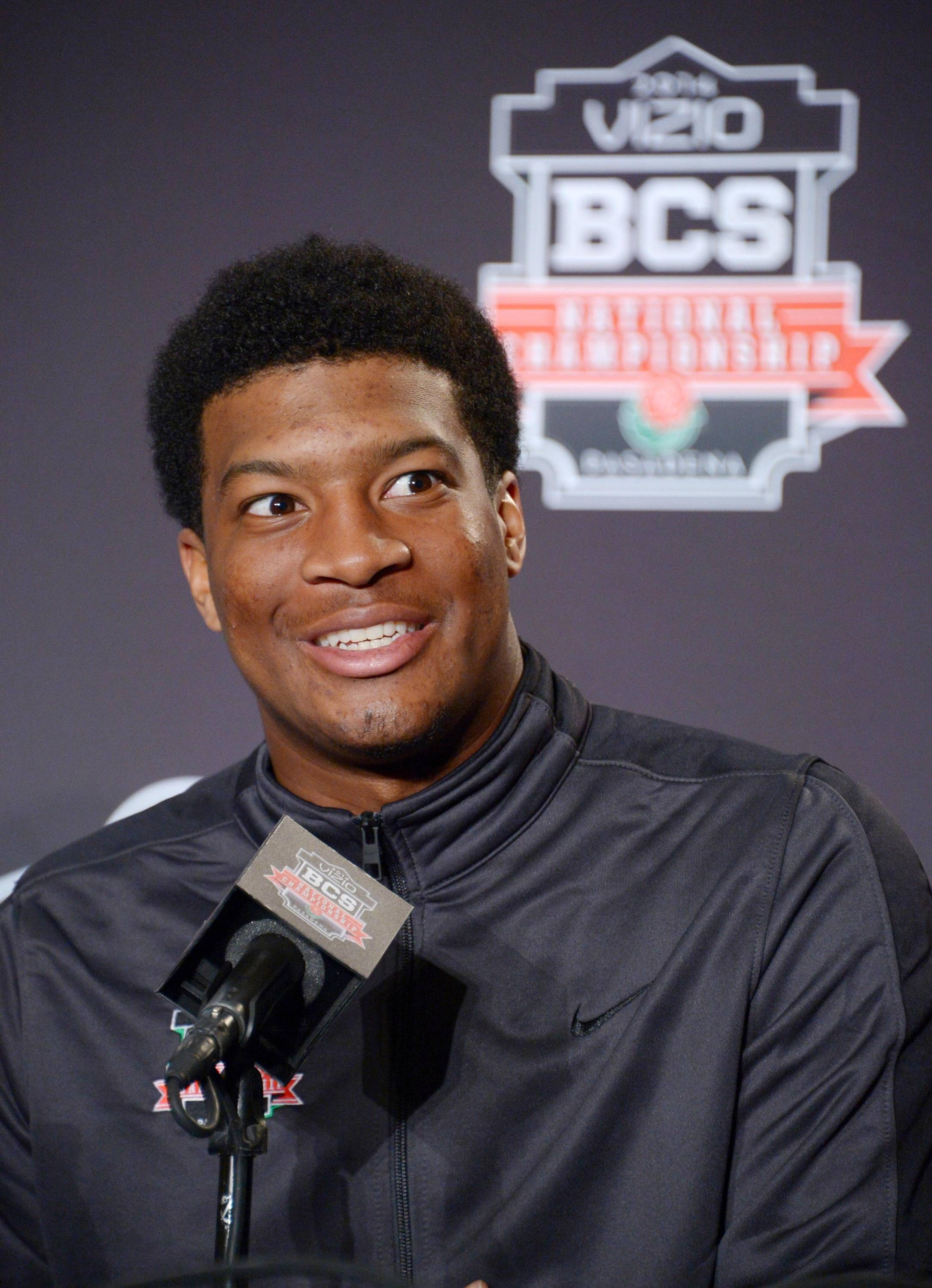 Florida State Seminoles quarterback Jameis Winston at a 2014 BCS National Championship press conference at Newport Beach Marriott. Mandatory Credit: Kirby Lee-USA TODAY Sports