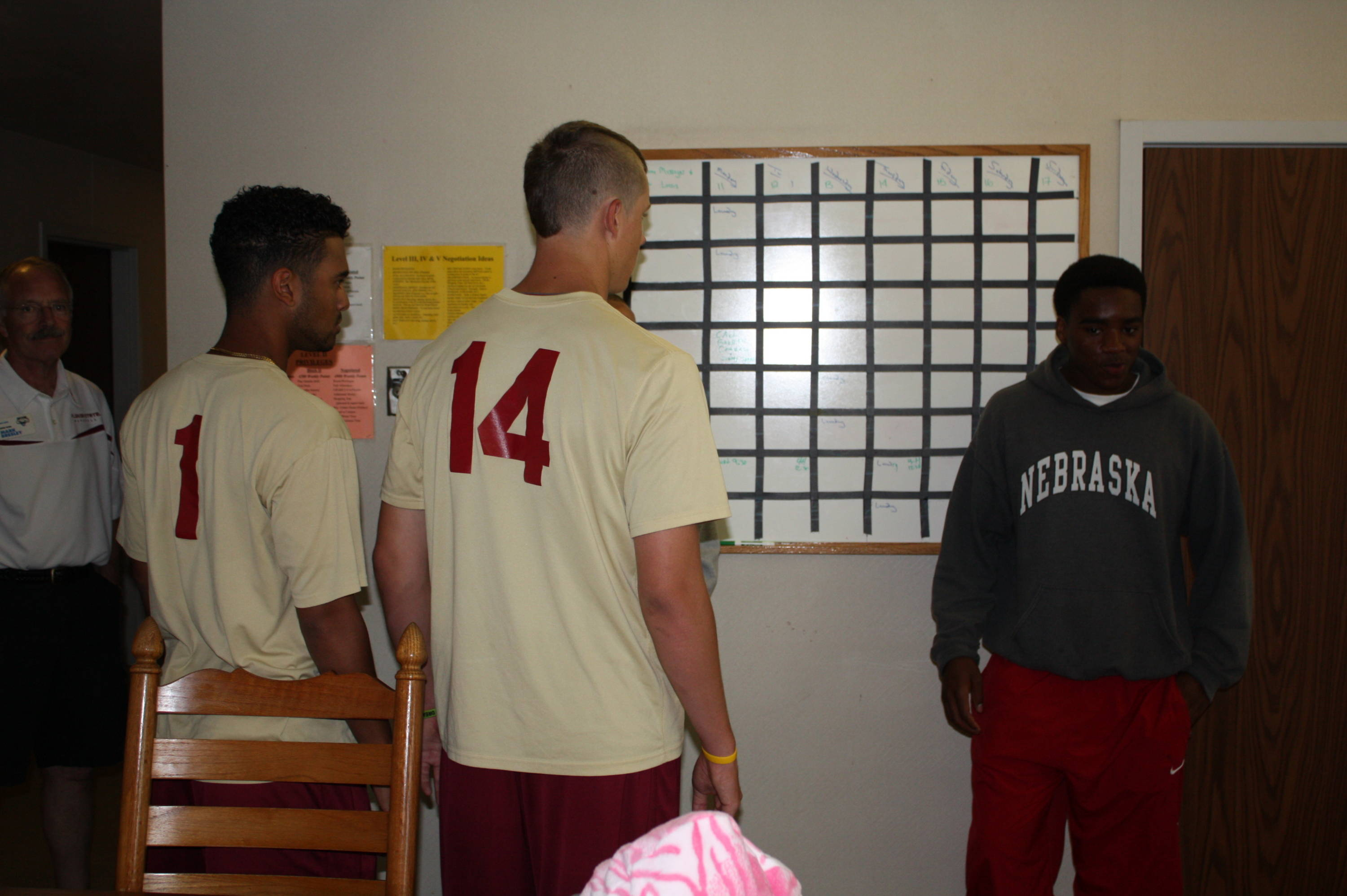 Florida State Baseball visits the Omaha Home for Boys on Saturday, June 16.  Giovanny Alfonzo and Kyle Bird get a tour of a cottage home on campus.