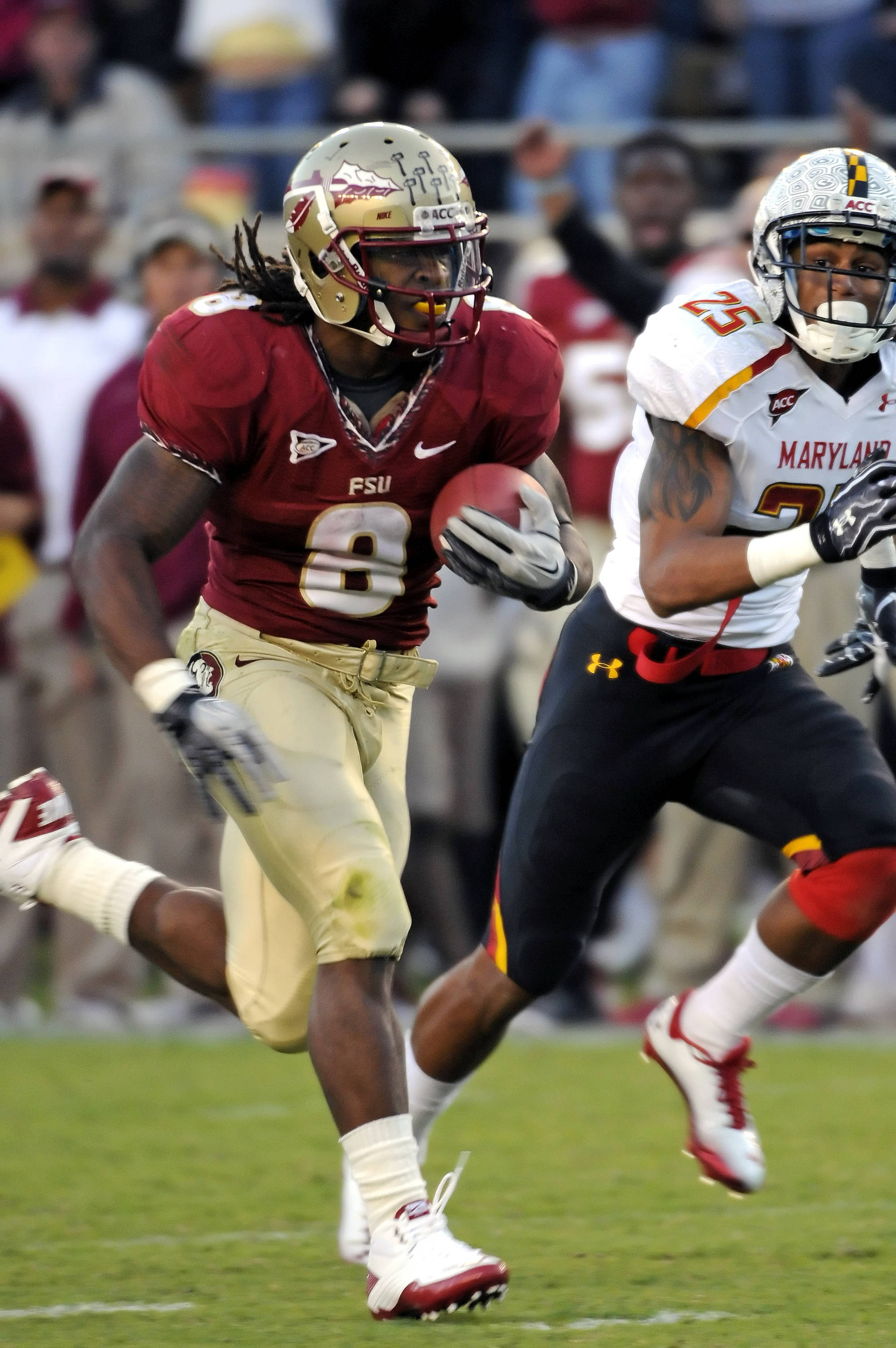 Devonta Freeman (8) had an outstanding freshman season and is seen here running for a touchdown against Maryland.