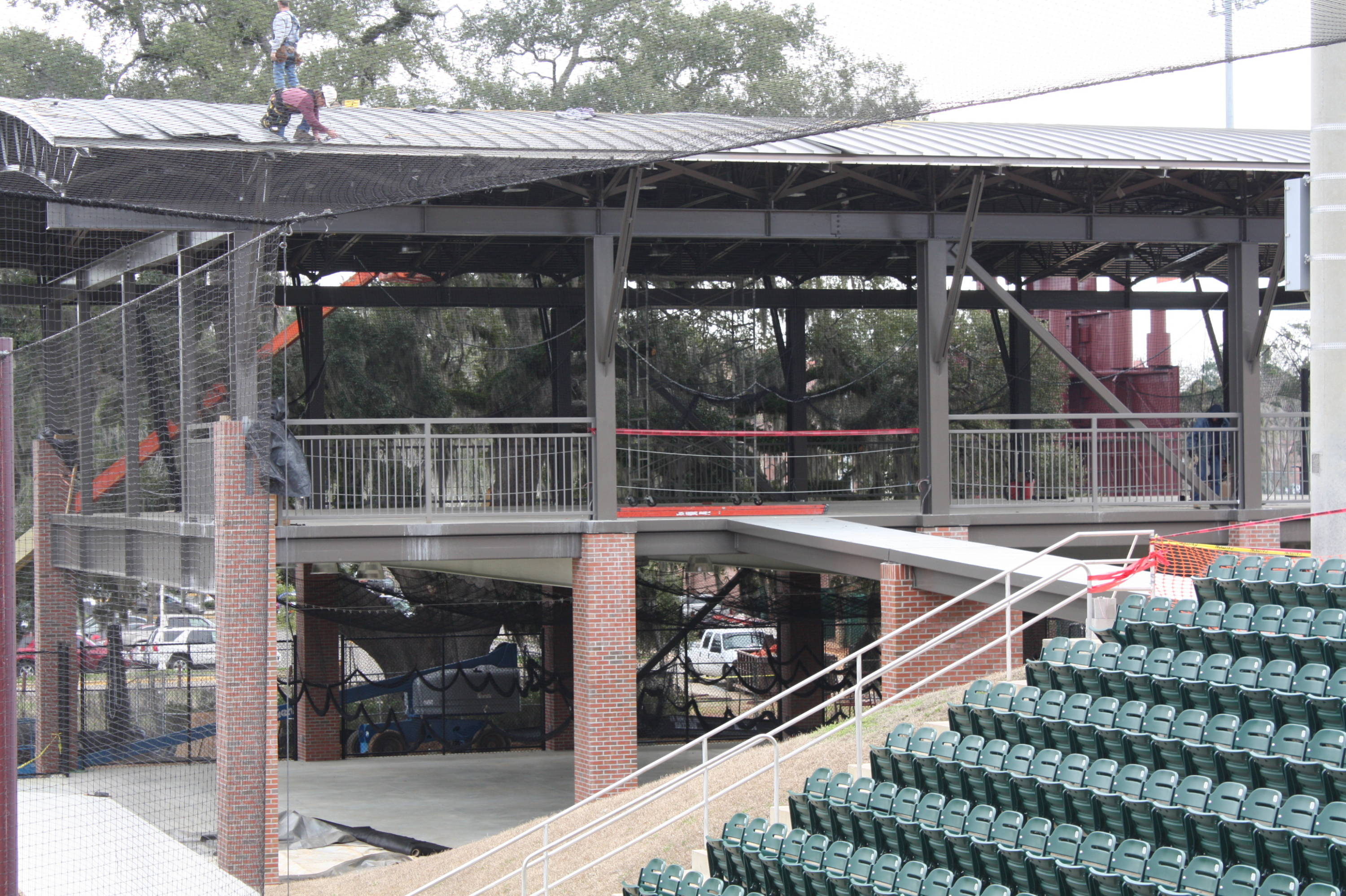Another view of the indoor batting cage facility during its construction