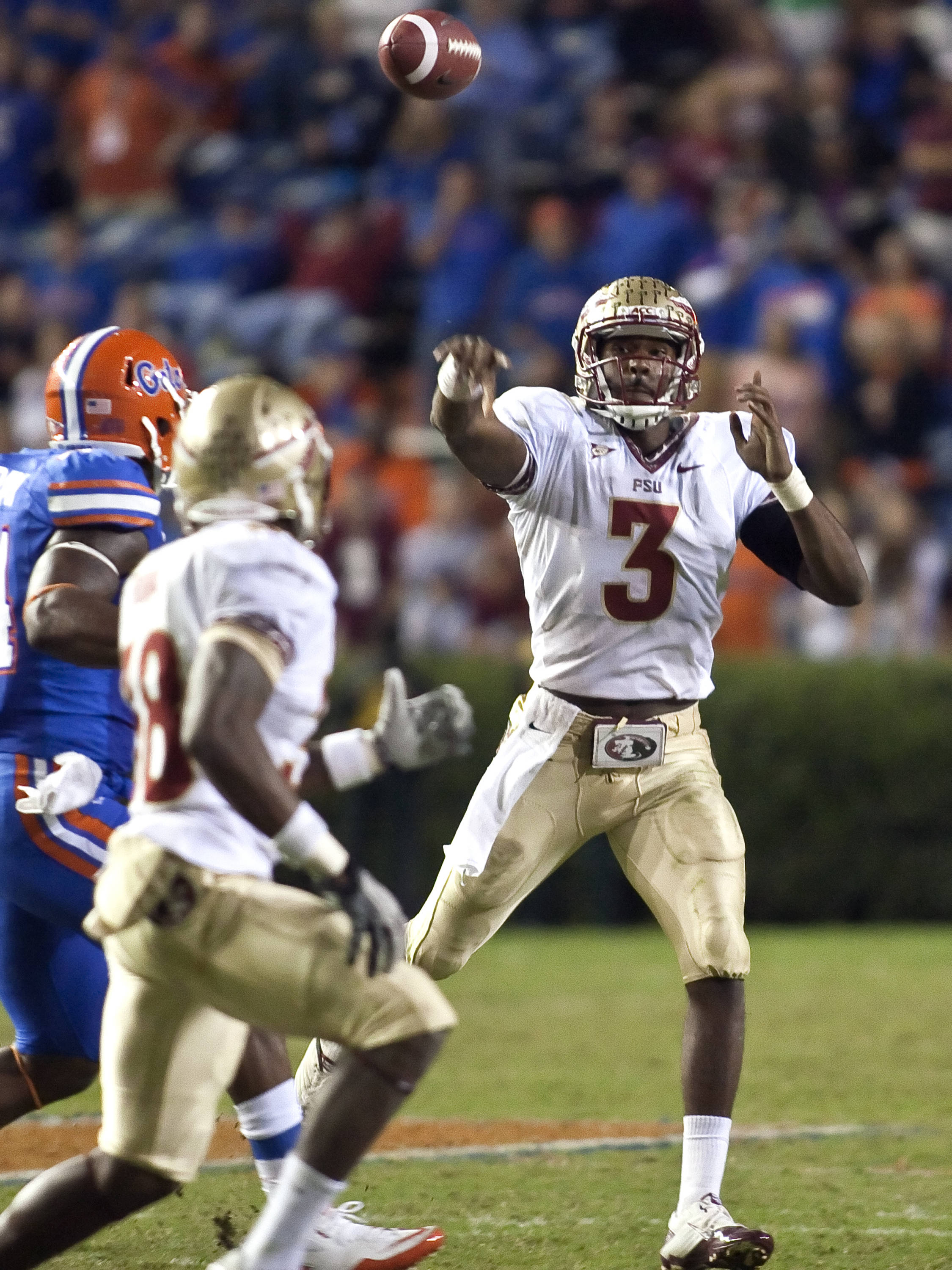EJ Manuel (3) with a short pass, FSU vs Florida, 11/26/2011