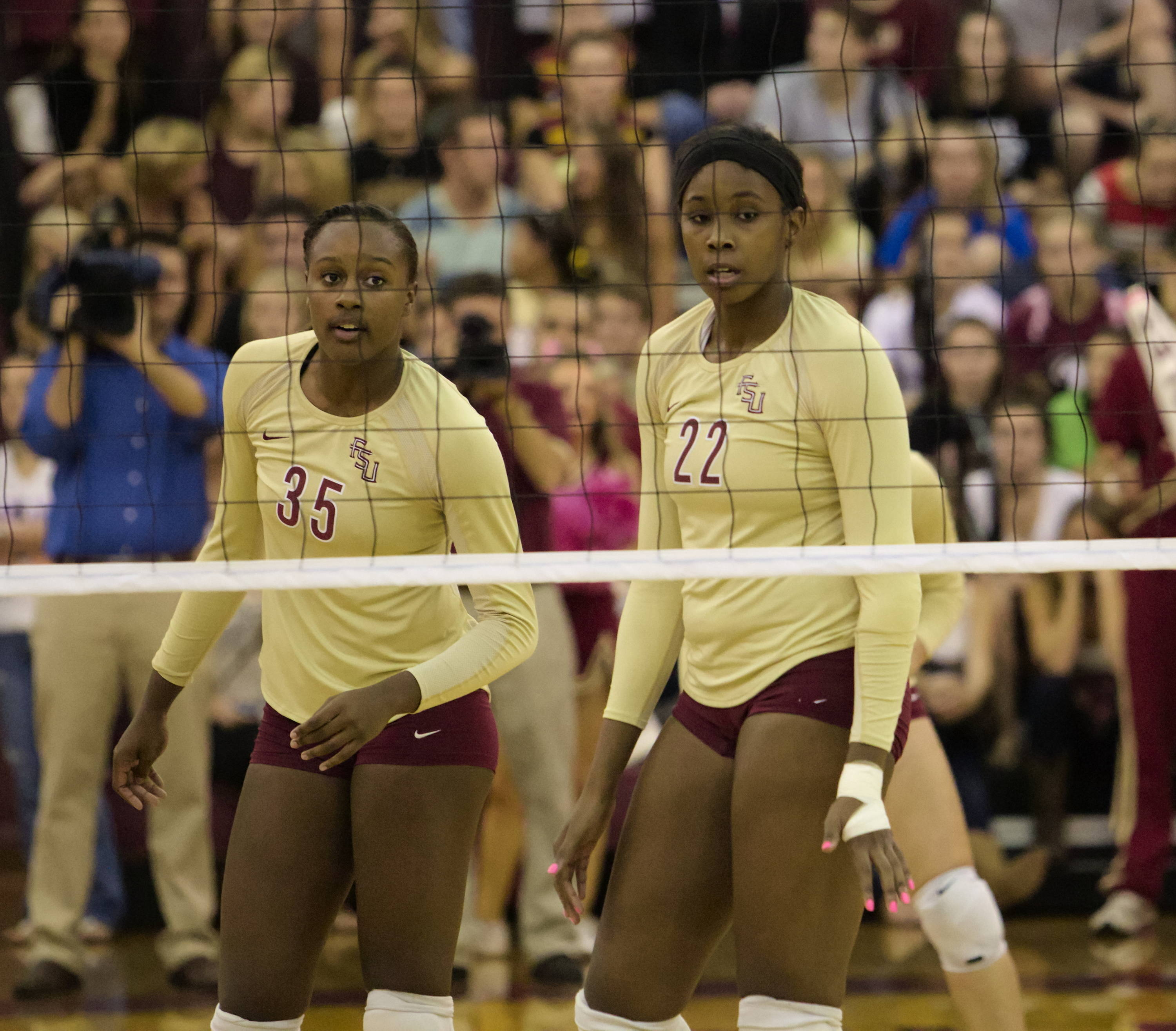 Mara Green (35), Sareea Freeman (22), FSU vs Florida, 10/24/12 (Photo by Steve Musco)