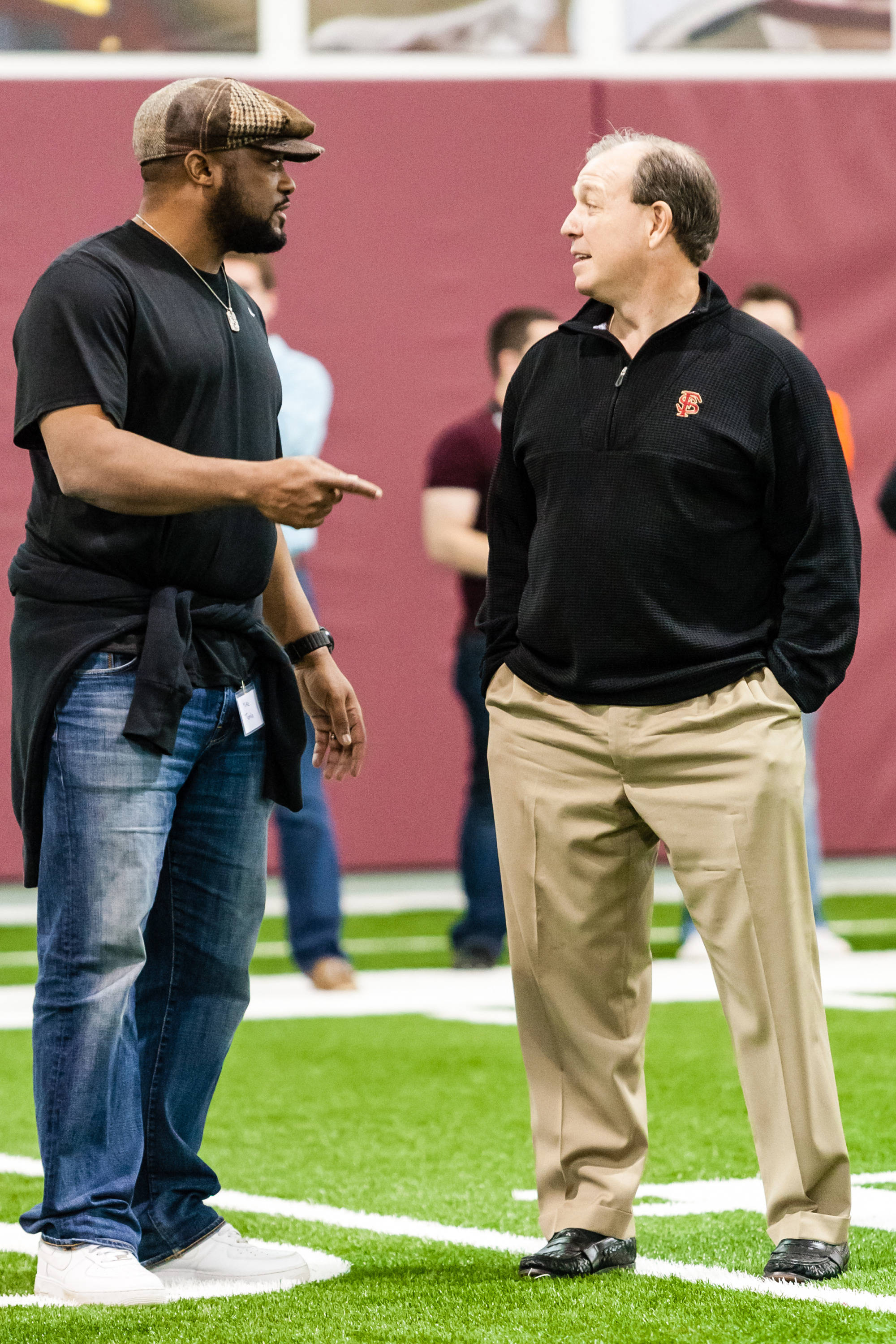 Steelers coach Mike Tomlin and Jimbo Fisher