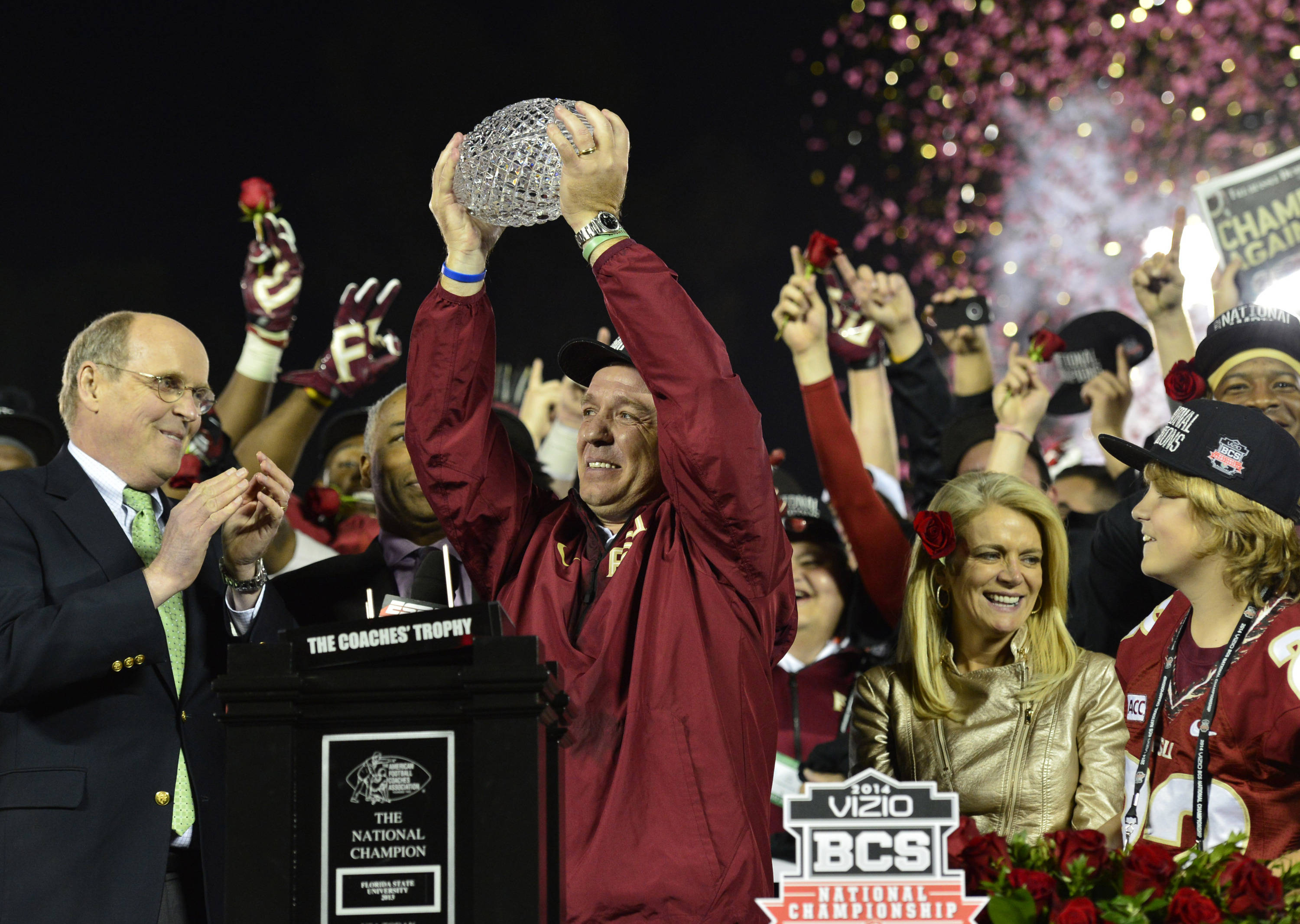 Jan 6, 2014; Pasadena, CA, USA; Florida State Seminoles head coach Jimbo Fisher celebrates with the Coaches Trophy after winning the 2014 BCS National Championship game against Auburn Tigers 34-31 at the Rose Bowl.  Mandatory Credit: Richard Mackson-USA TODAY Sports