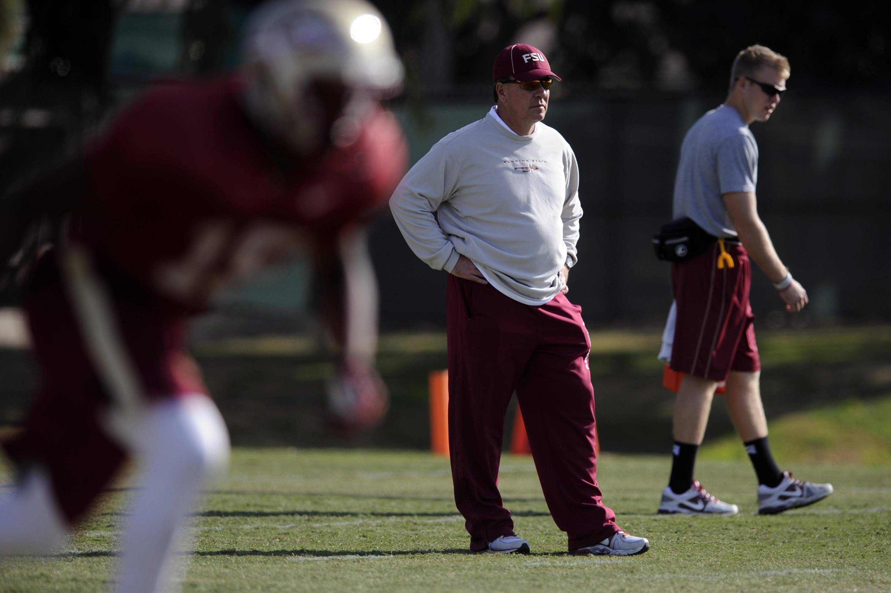 Jan 3, 2014; Orange, CA, USA; Florida State Seminoles head coach Jimbo Fisher during practice for the BCS National Championship football game against the Auburn Tigers at Orange Coast College. Mandatory Credit: Kelvin Kuo-USA TODAY Sports