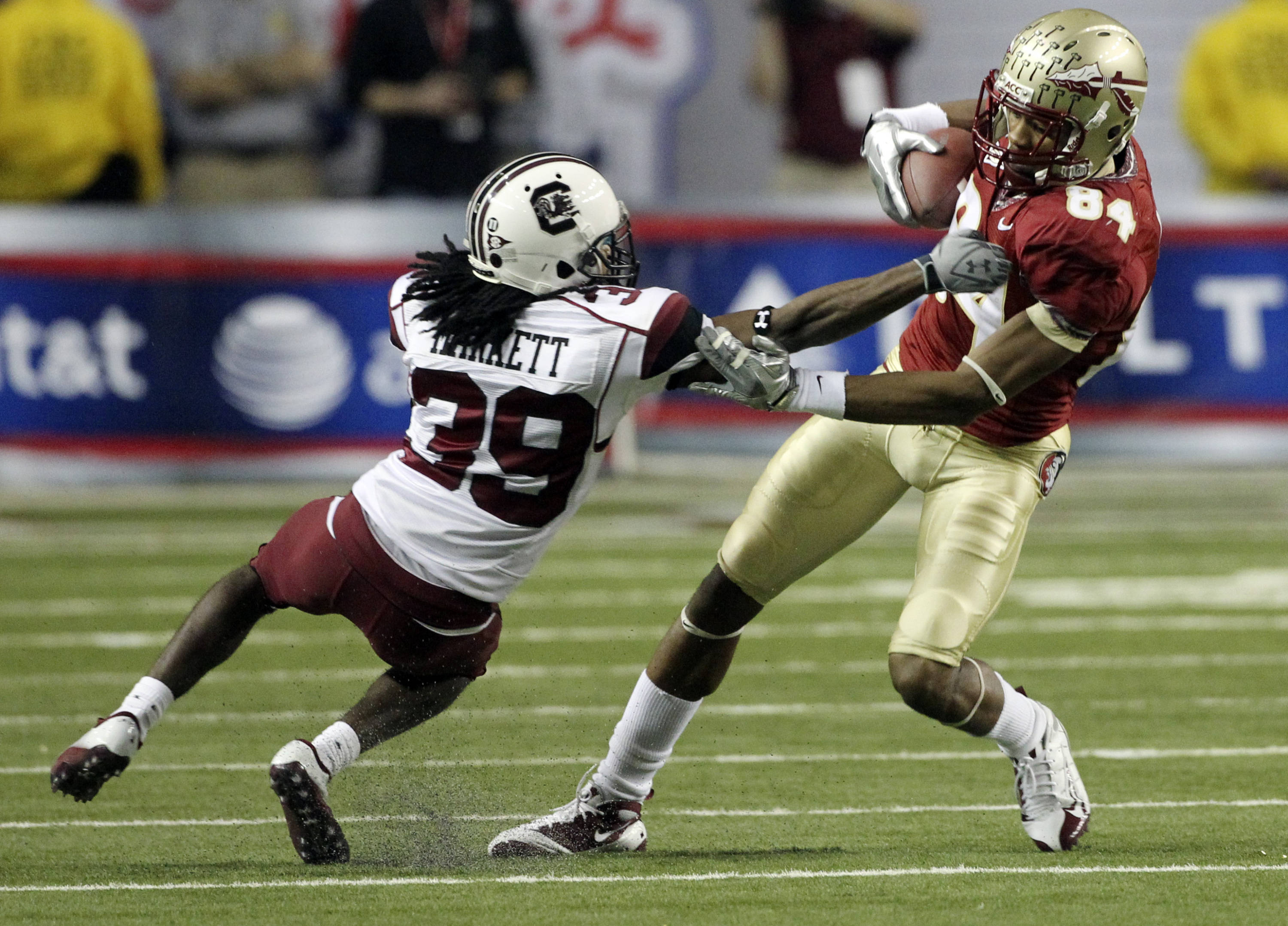 Florida State wide receiver Rodney Smith (84) breaks away from South Carolina cornerback Marty Markett (39) after making a catch in the fourth quarter of the Chick-fil-A Bowl on Friday, Dec. 31, 2010, in Atlanta. (AP Photo/John Bazemore)