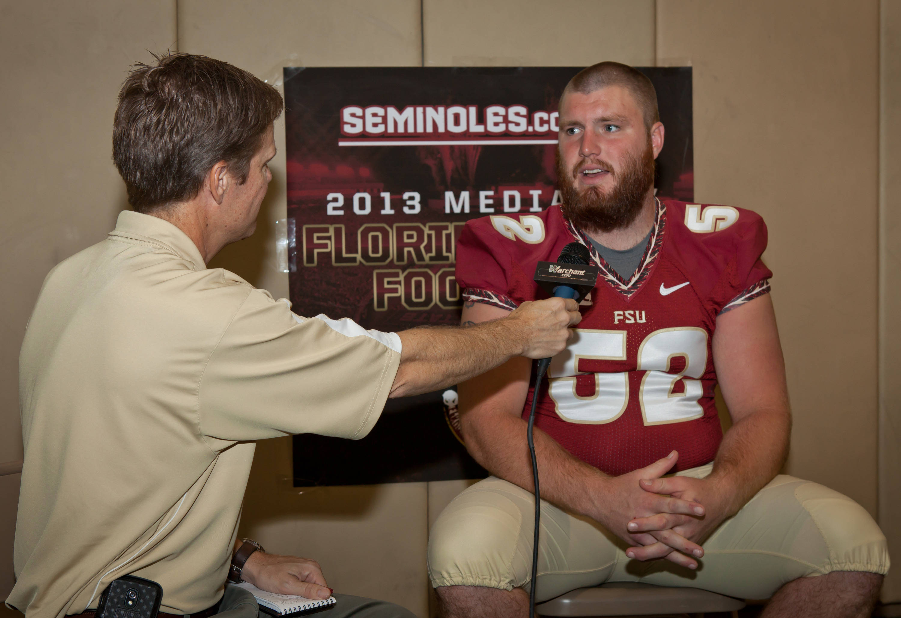 Bryan Stork gets interviewed in the Electronic Interview area.