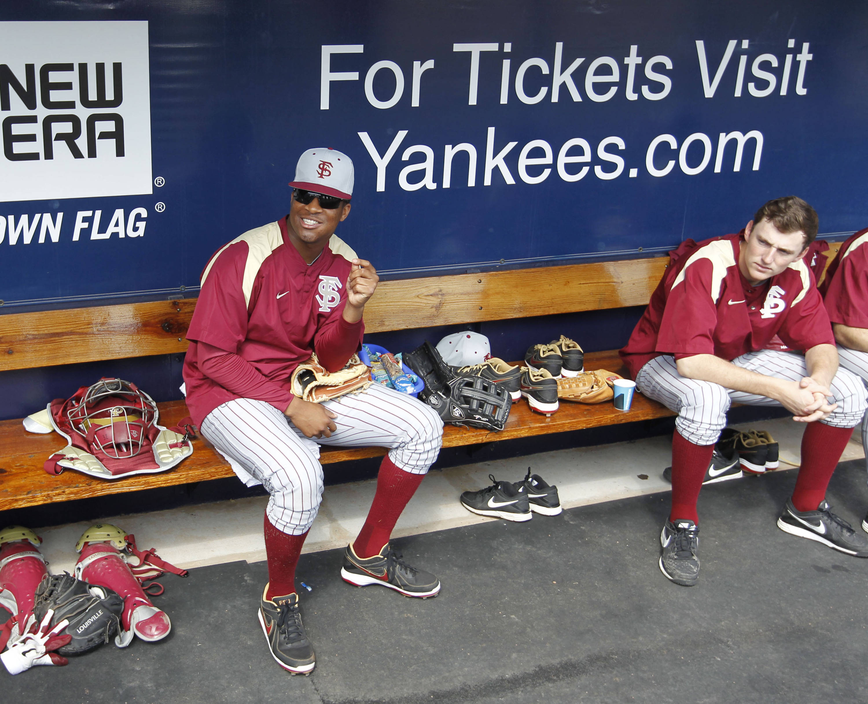 Feb 25, 2014; Tampa, FL, USA; Florida State Seminoles pitcher/outfielder Jameis Winston (44) prior to the game against the New York Yankees at George M. Steinbrenner Field. Mandatory Credit: Kim Klement-USA TODAY Sports
