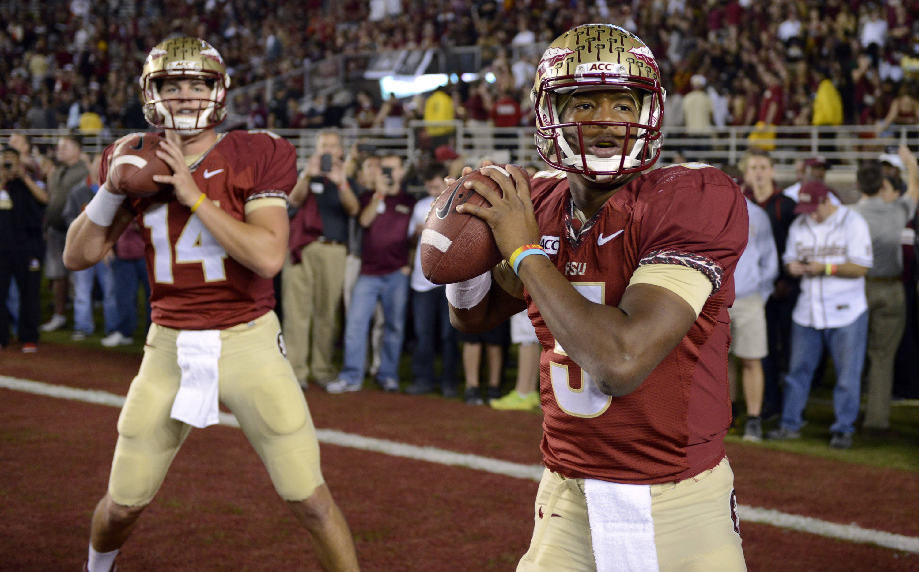Florida State Seminoles quarterback Jameis Winston (5) during pre game warm ups before the game against the Miami Hurricanes at Doak Campbell Stadium. Mandatory Credit: John David Mercer-USA TODAY Sports