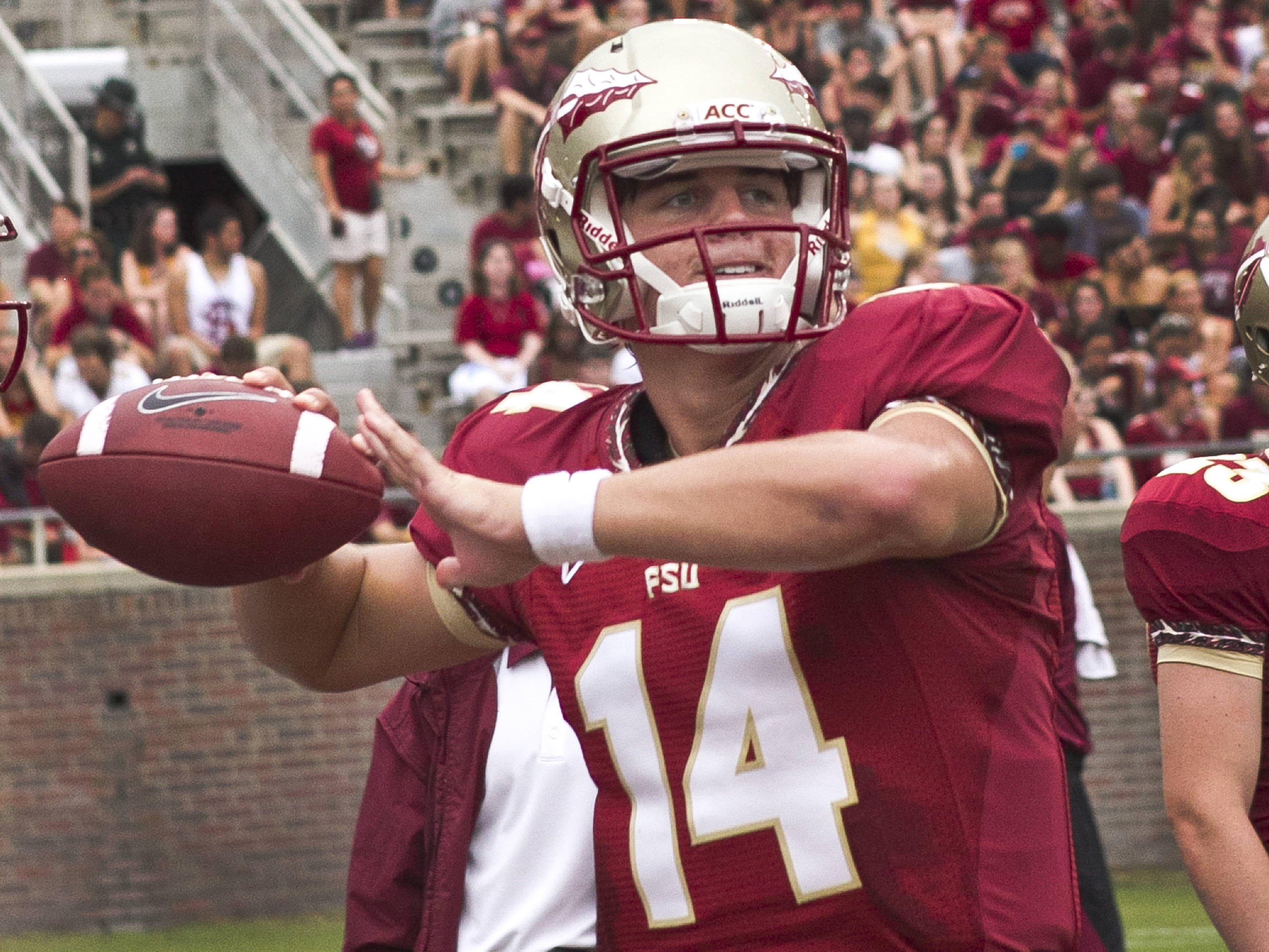 Jacob Coker (14),  FSU vs Savannah State, 9/8/12 (Photo by Steve Musco)