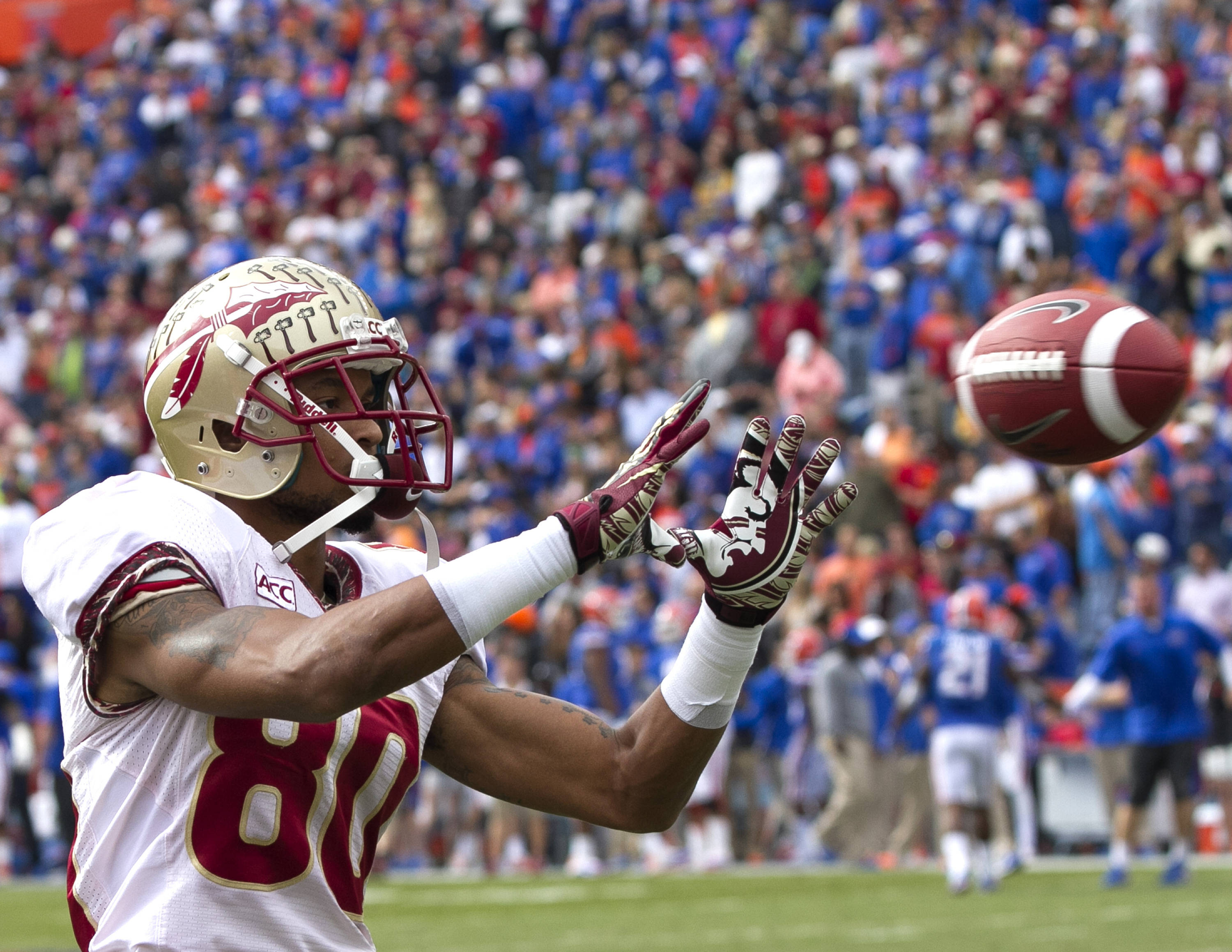 Rashad Greene (80) warming up, FSU vs Florida, 11-30-13,  (Photo by Steve Musco)
