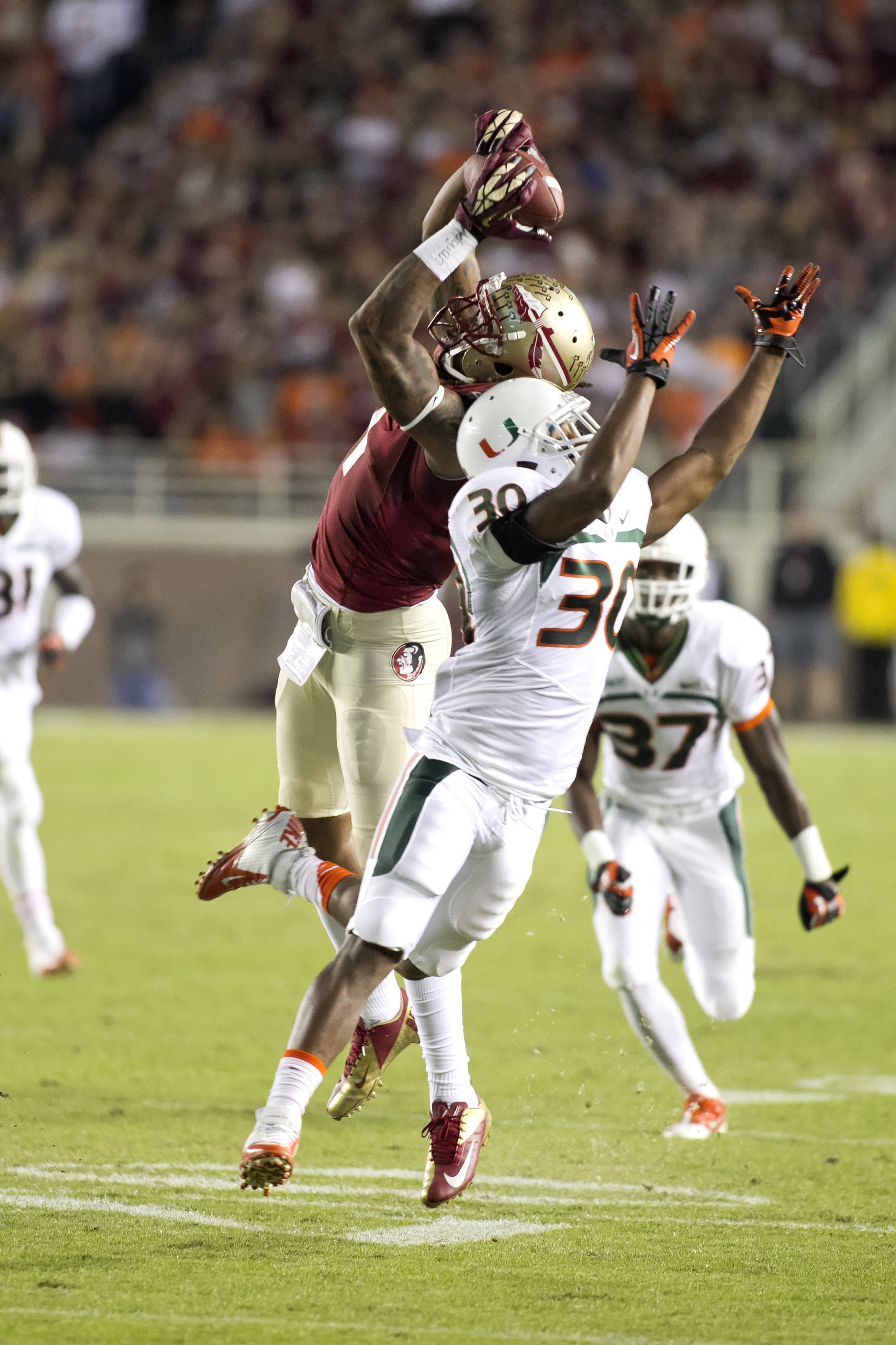 Kelvin Benjamin (1), FSU vs Miami,  11-2-13, (Photo by Steve Musco)