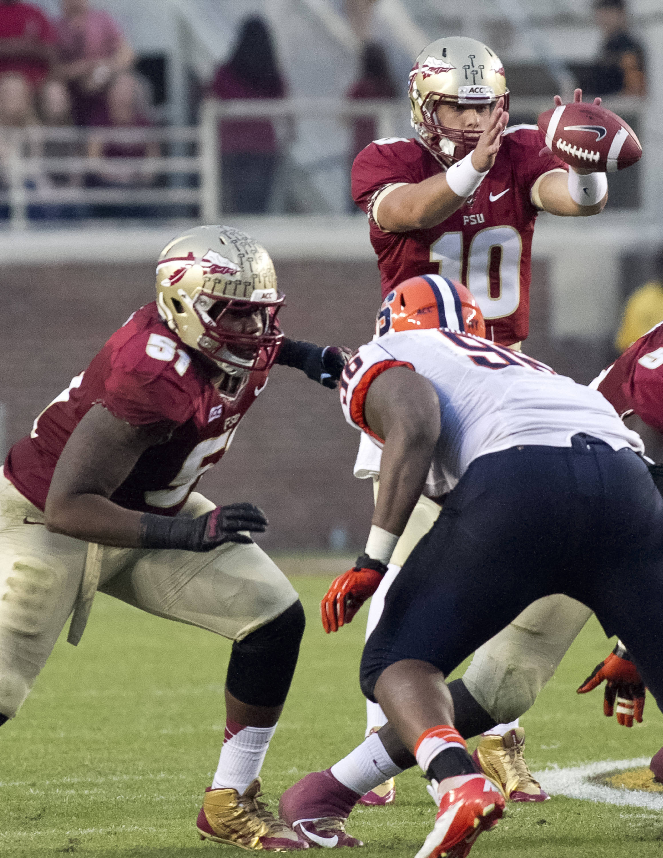 Bobby Hart (51), Sean Maguire (10), FSU vs Syracuse, 11-16-13, (Photo by Steve Musco)