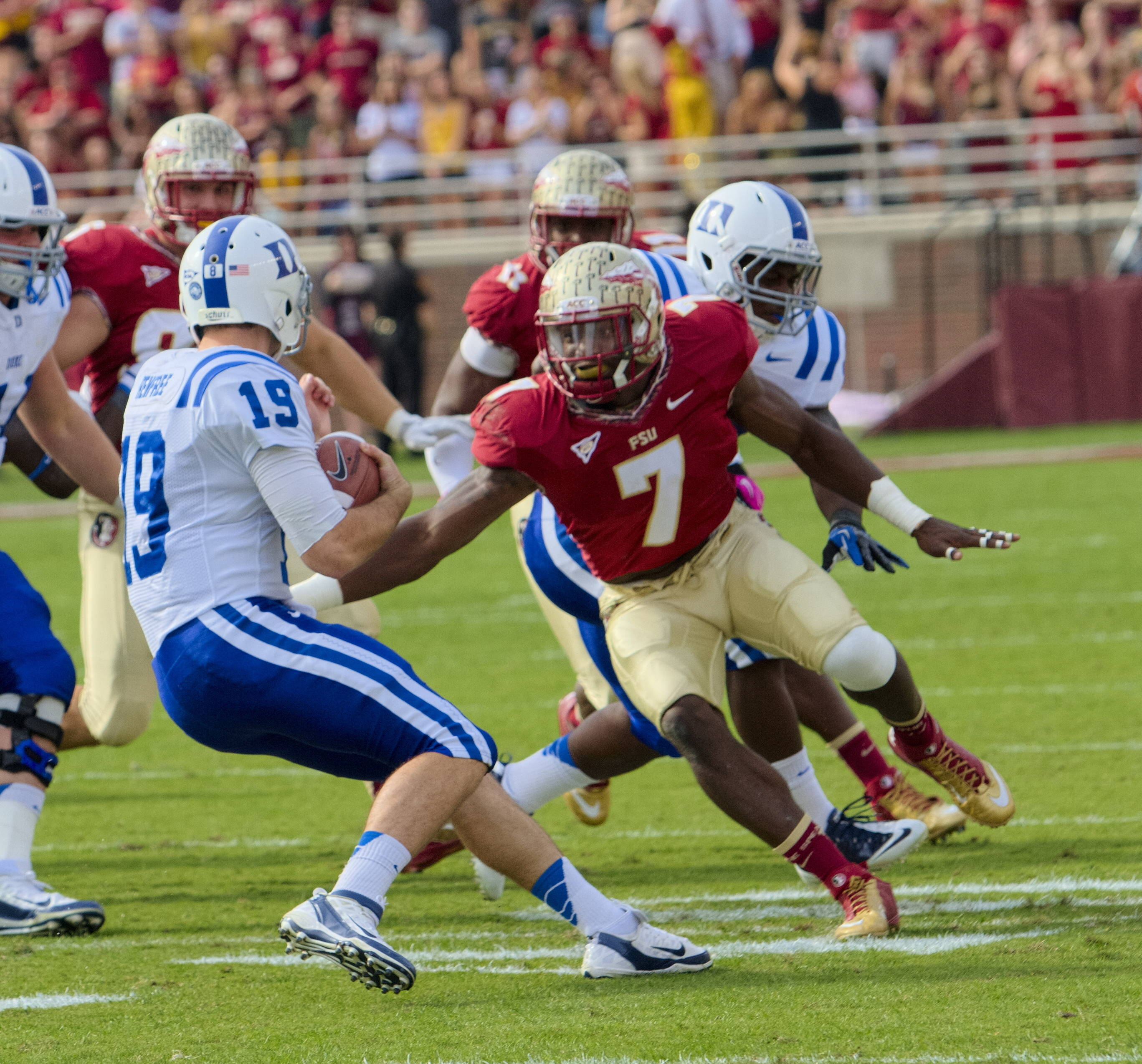 Christian Jones (7), FSU vs Duke, 10/27/12. (Photo by Steve Musco)
