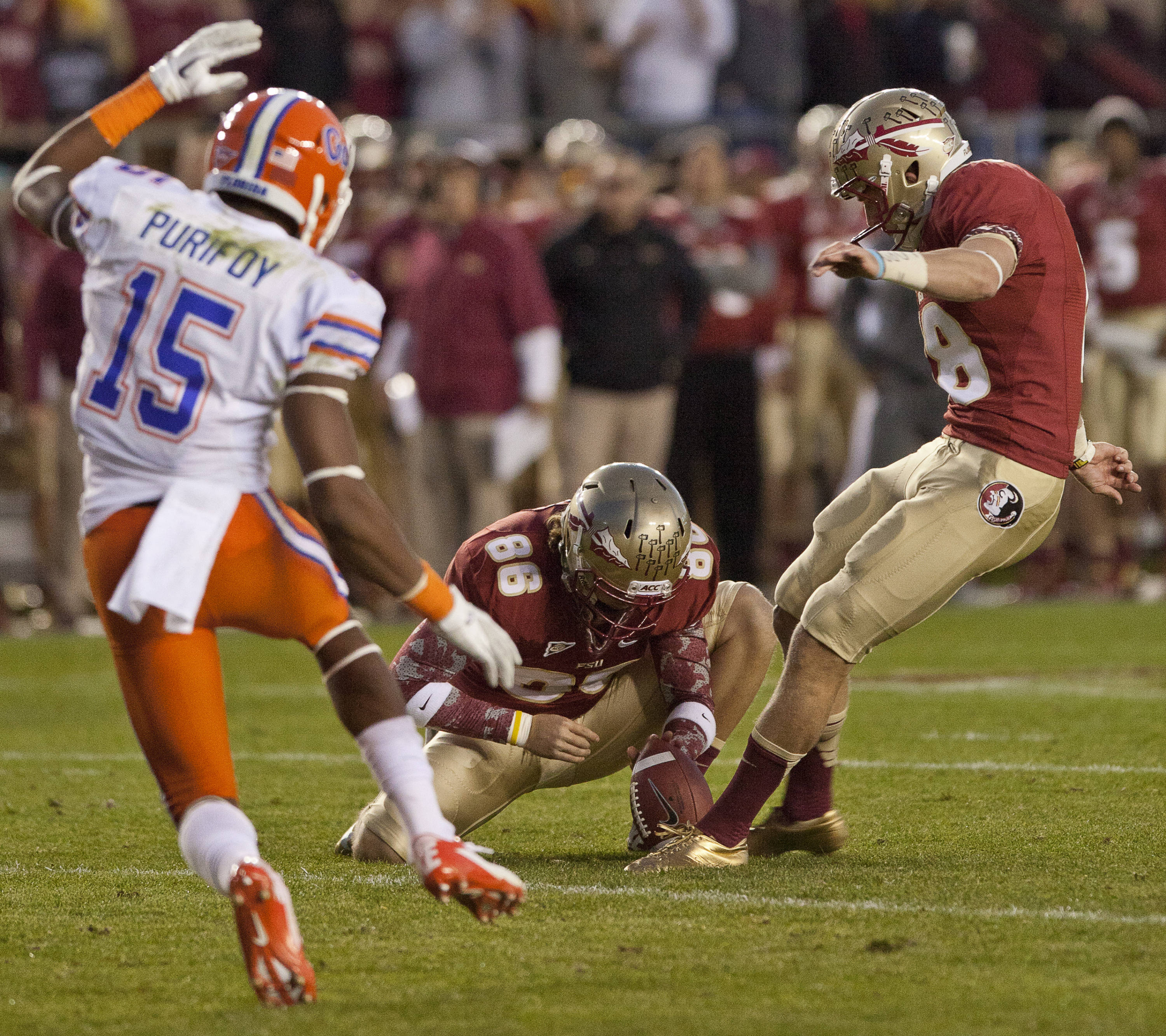 Dustin Hopkins (18) kicks a extra point during FSU Football's game against UF on Saturday, November 24, 2012 in Tallahassee, Fla.