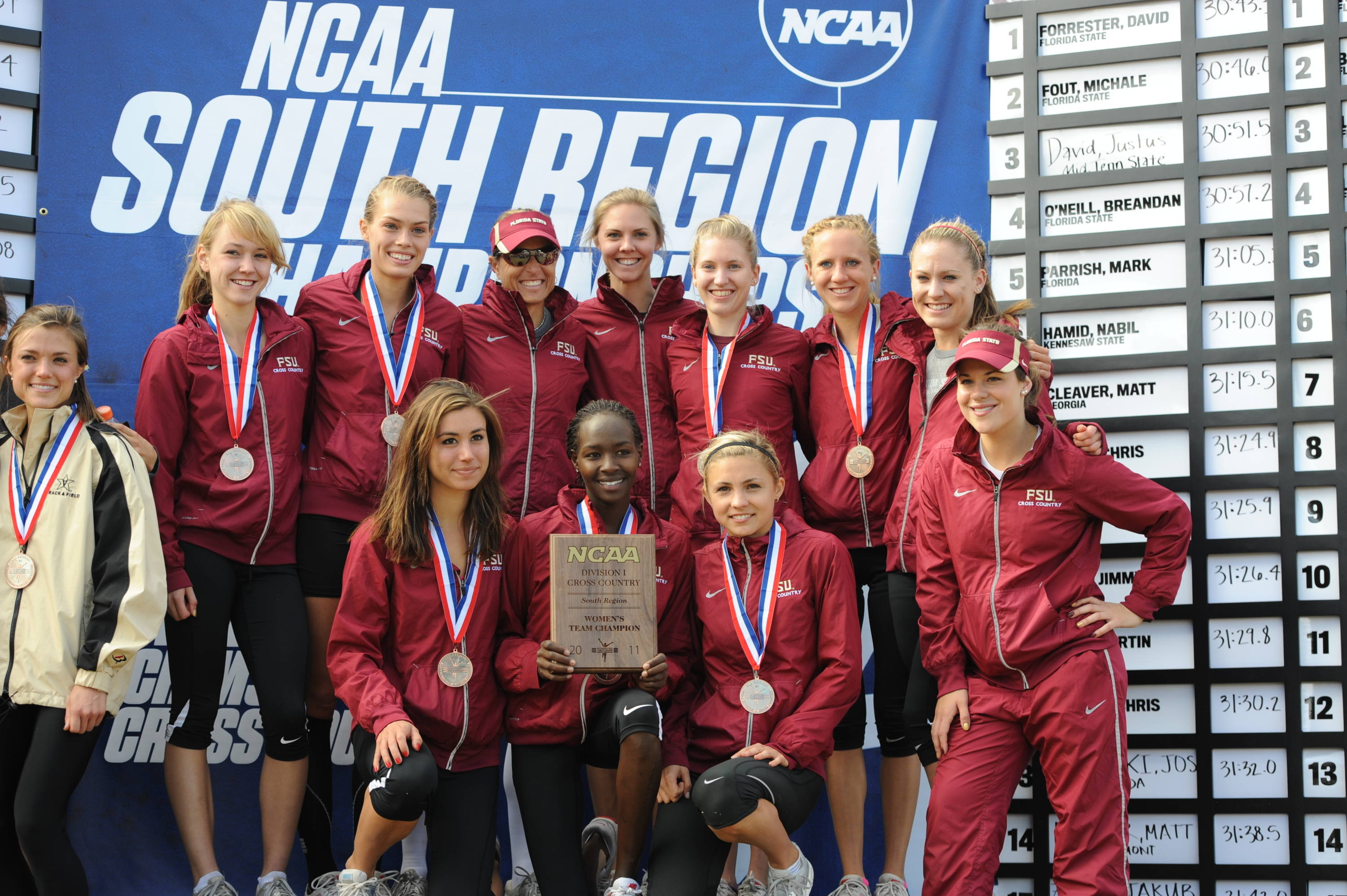 The Florida State women won their third NCAA South Region title in four years with a dominating finish in 2011 at Tuscaloosa, Ala.