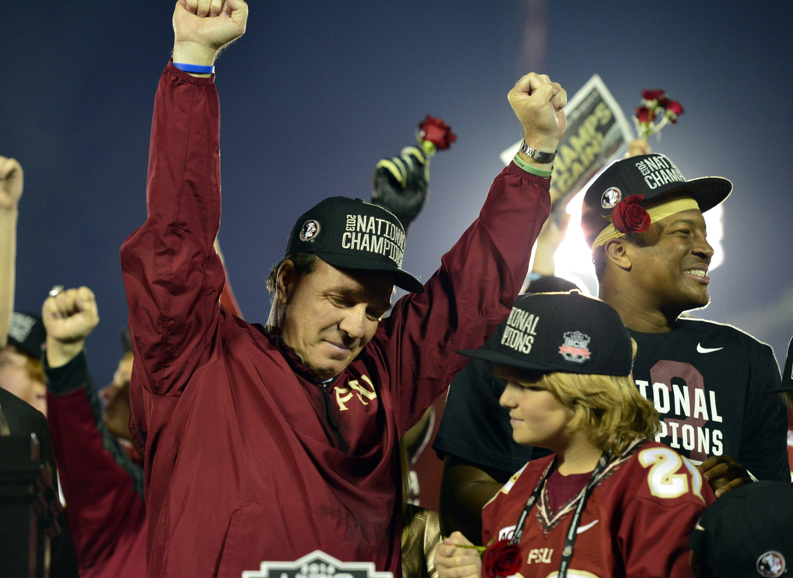 Jan 6, 2014; Pasadena, CA, USA; Florida State Seminoles head coach Jimbo Fisher celebrates after winning the 2014 BCS National Championship game against Auburn Tigers 34-31 at the Rose Bowl.  Mandatory Credit: Richard Mackson-USA TODAY Sports