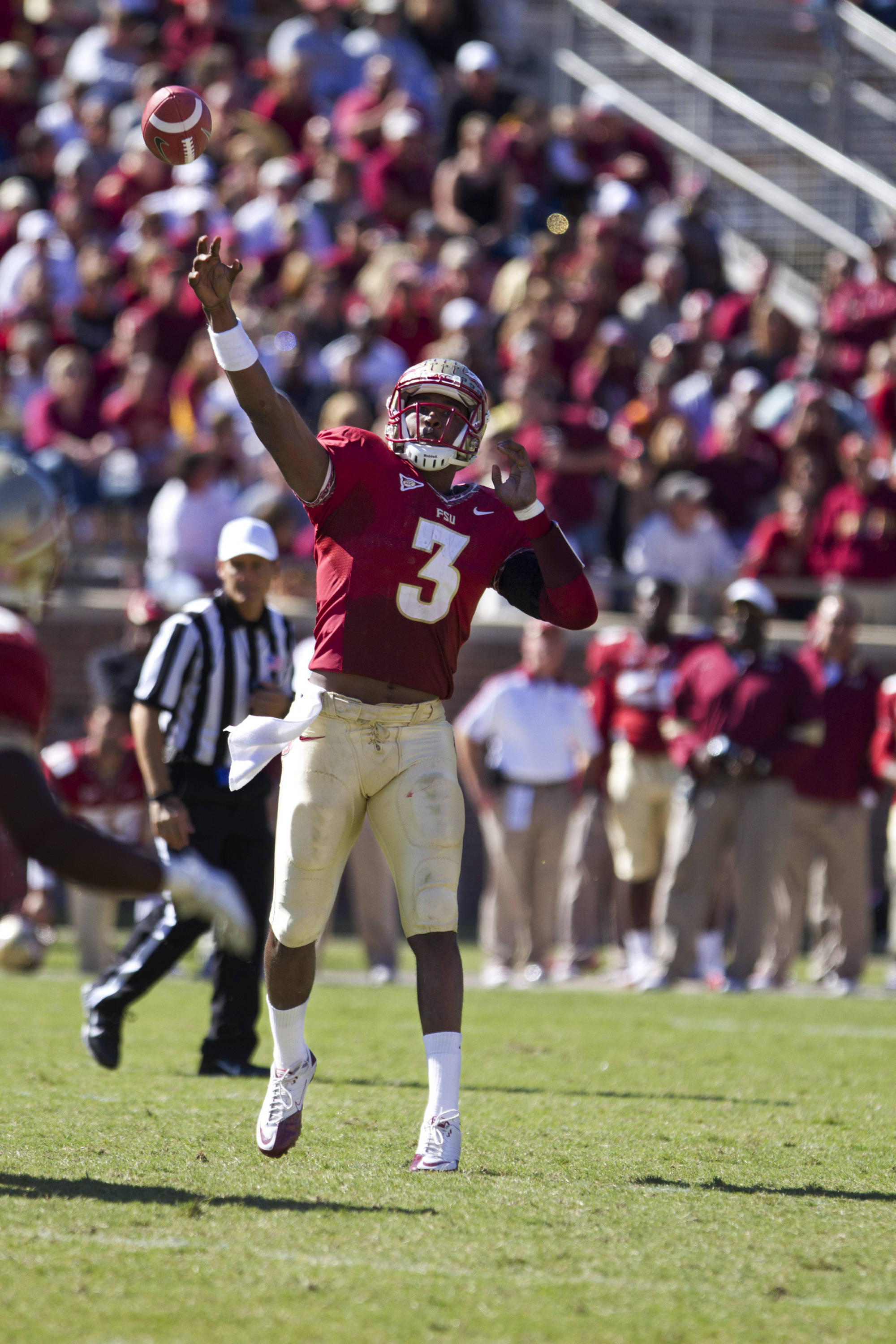 EJ Manuel (3) makes a pass during the football game against NC State on October 29, 2011.