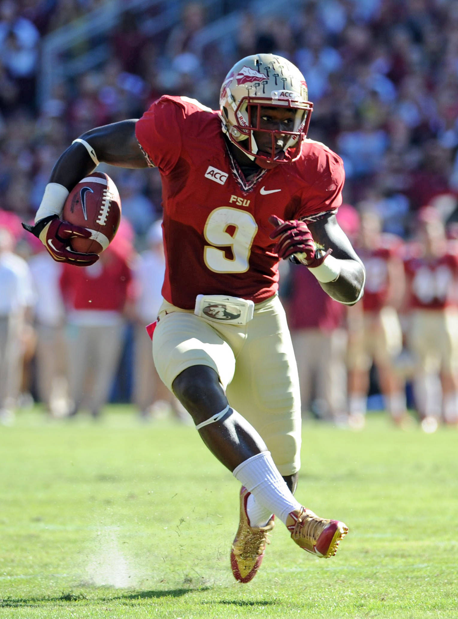 Karlos Williams (9) runs the ball during the first quarter. Mandatory Credit: Melina Vastola-USA TODAY Sports