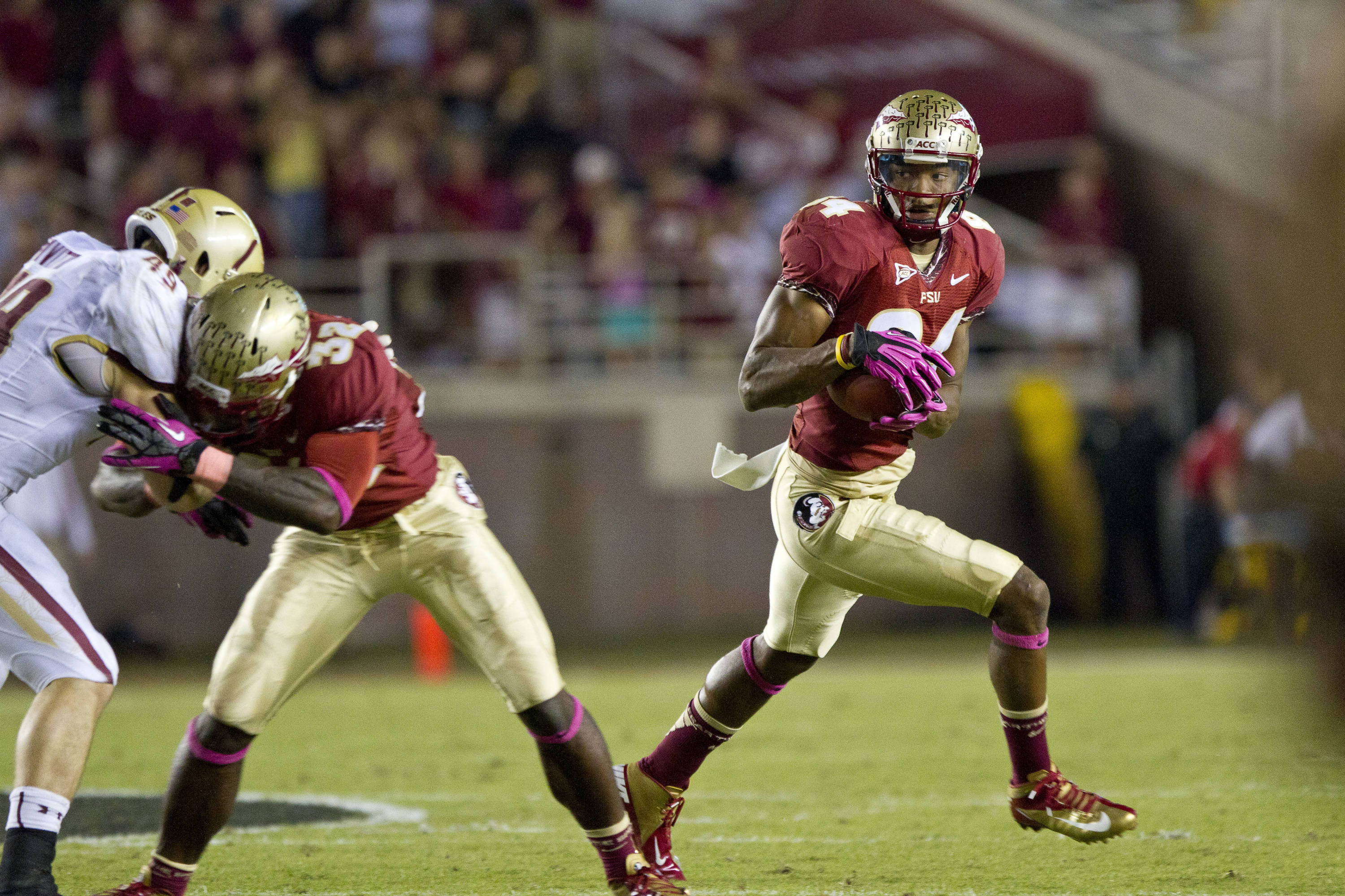 Rodney Smith (84) carries the ball during the FSU vs Boston College football game on October 13, 2012 in Tallahassee, Fla.