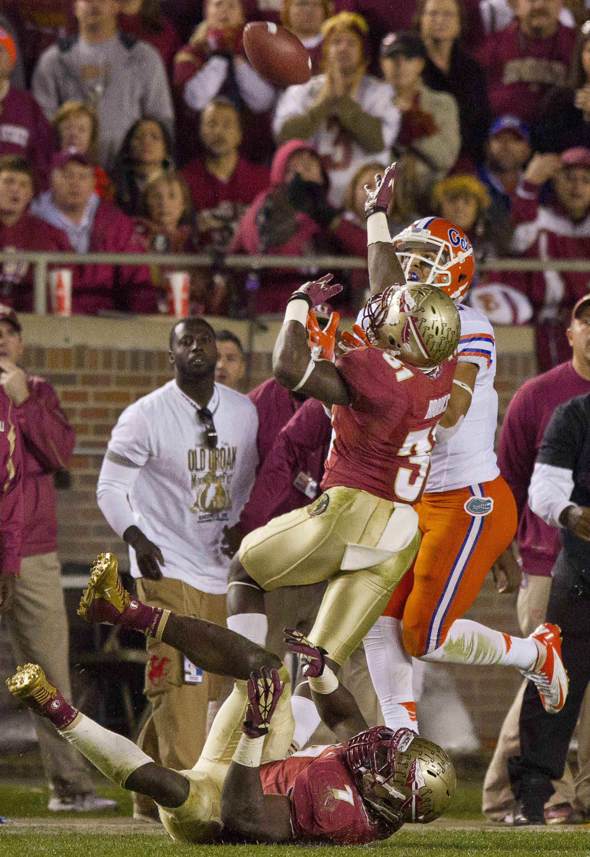 Terrence Brooks (31) attempts to break up a pass during FSU Football's game against UF on Saturday, November 24, 2012 in Tallahassee, Fla.