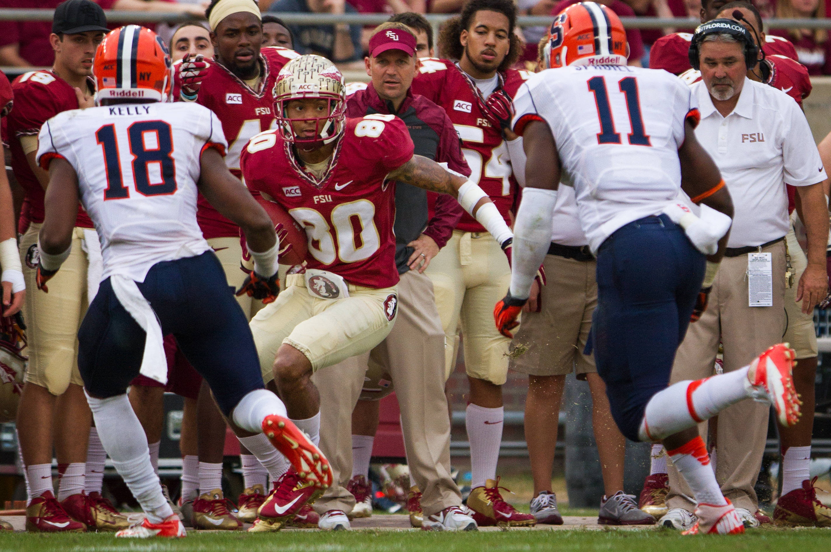 Rashad Greene (80) runs the ball during FSU Football's 59-3 win over Syracuse on Saturday, November 16, 2013 in Tallahassee, Fla. Photo by Mike Schwarz.